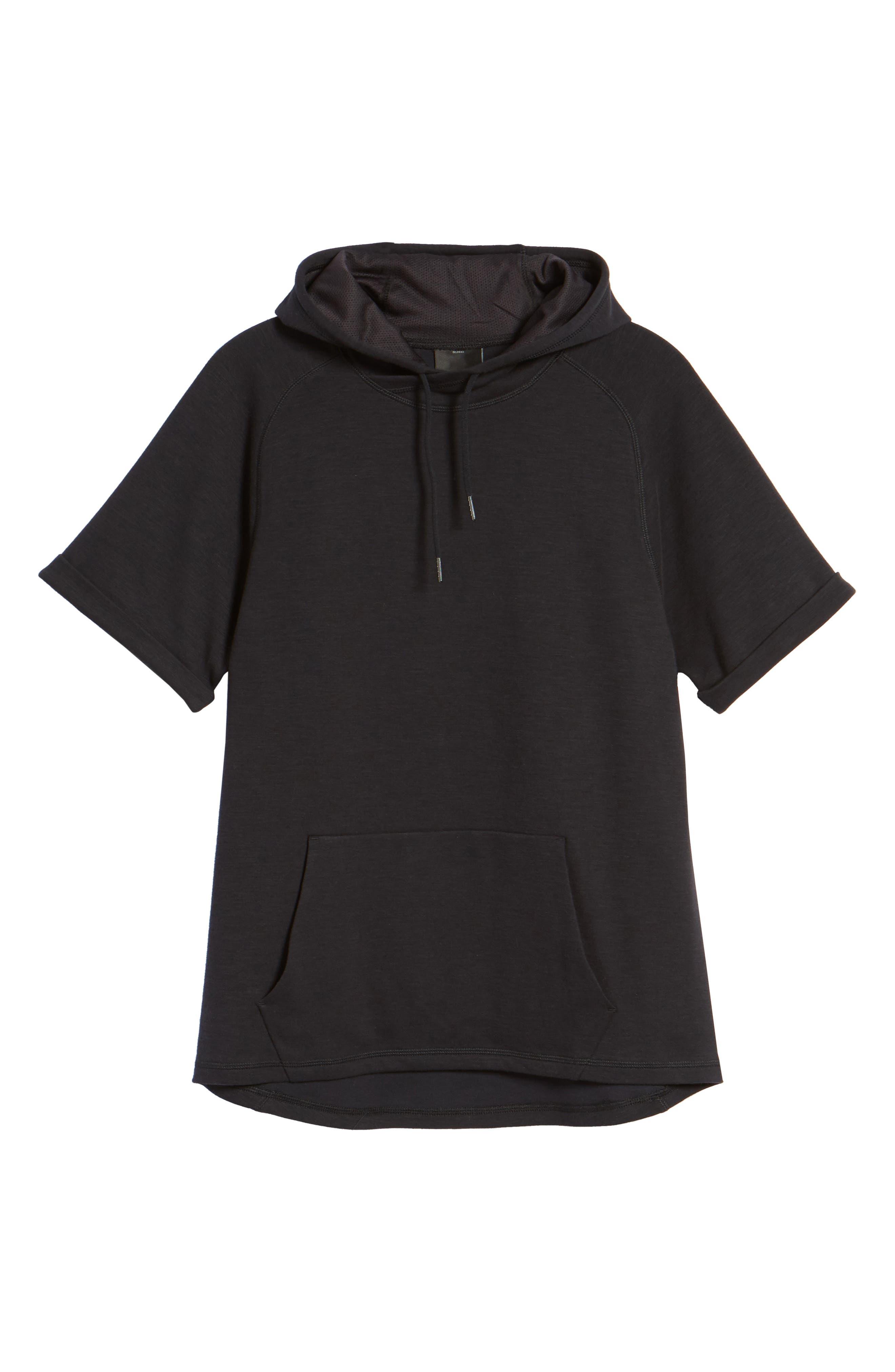 Magnetite Short Sleeve Cotton Blend Hoodie,                             Alternate thumbnail 6, color,                             Black Oxide Melange