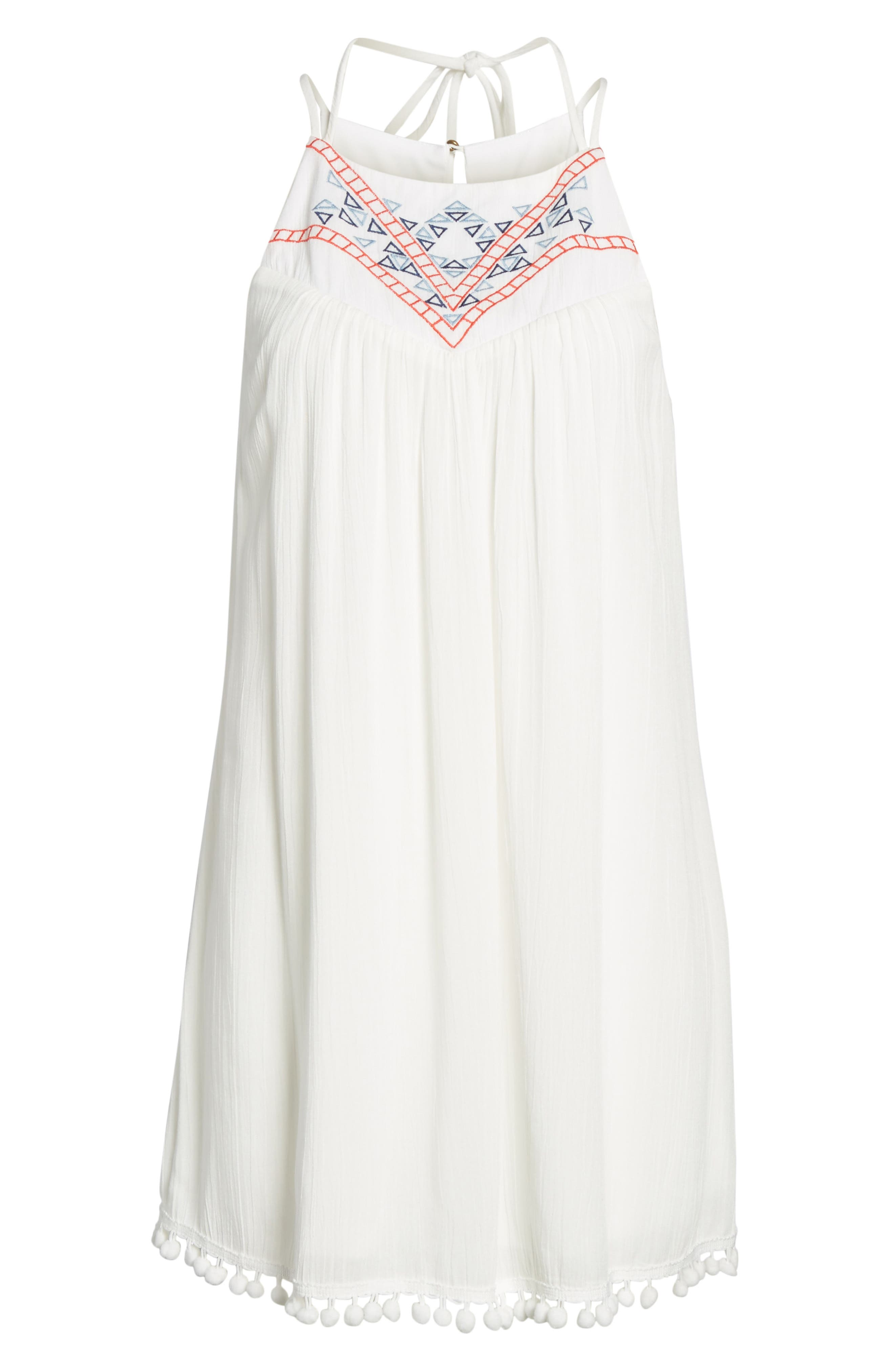 Embroidered Swing Dress,                             Alternate thumbnail 6, color,                             Milky White