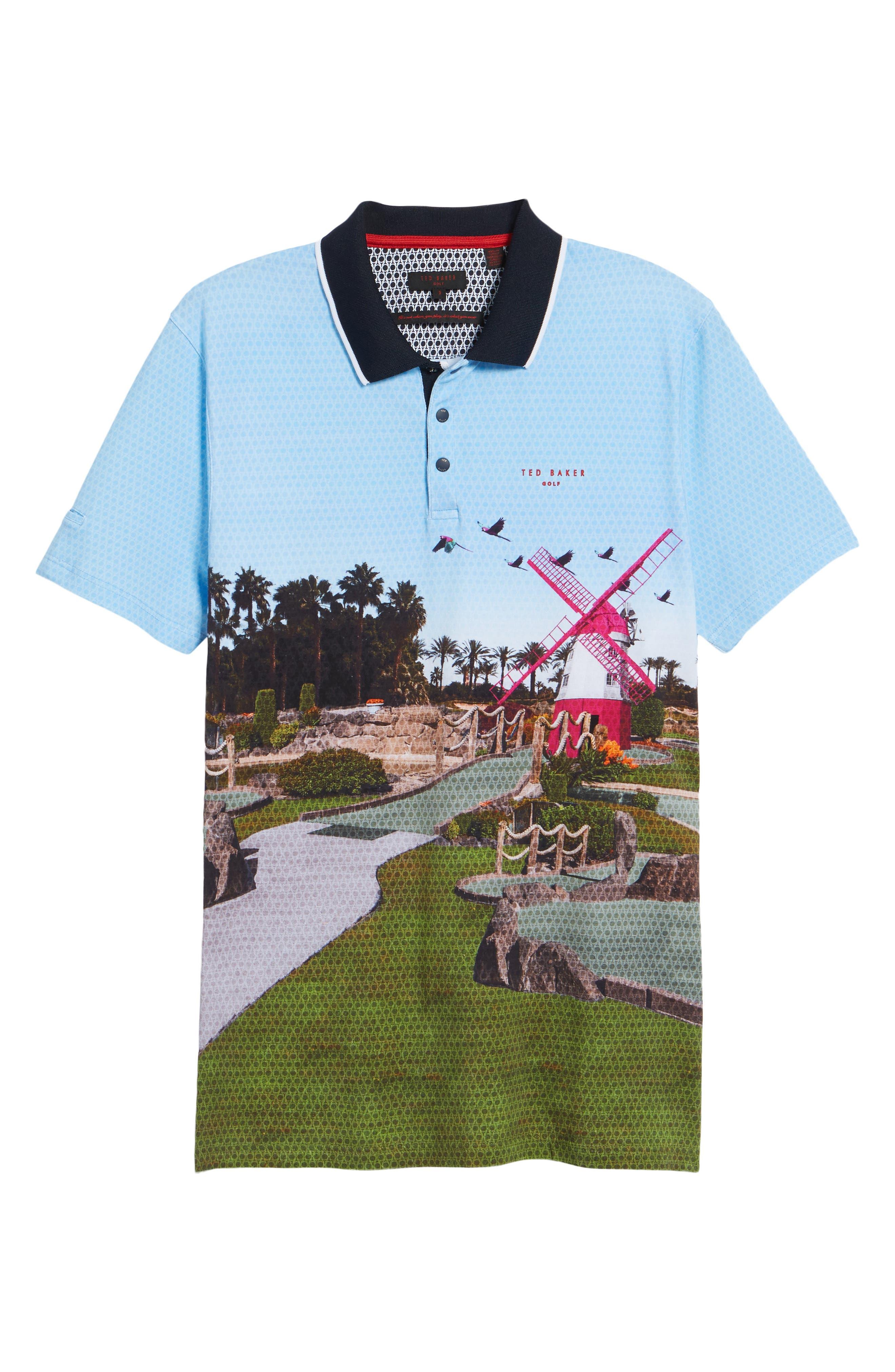Placement Trim Fit Golf Polo,                             Alternate thumbnail 6, color,                             Blue