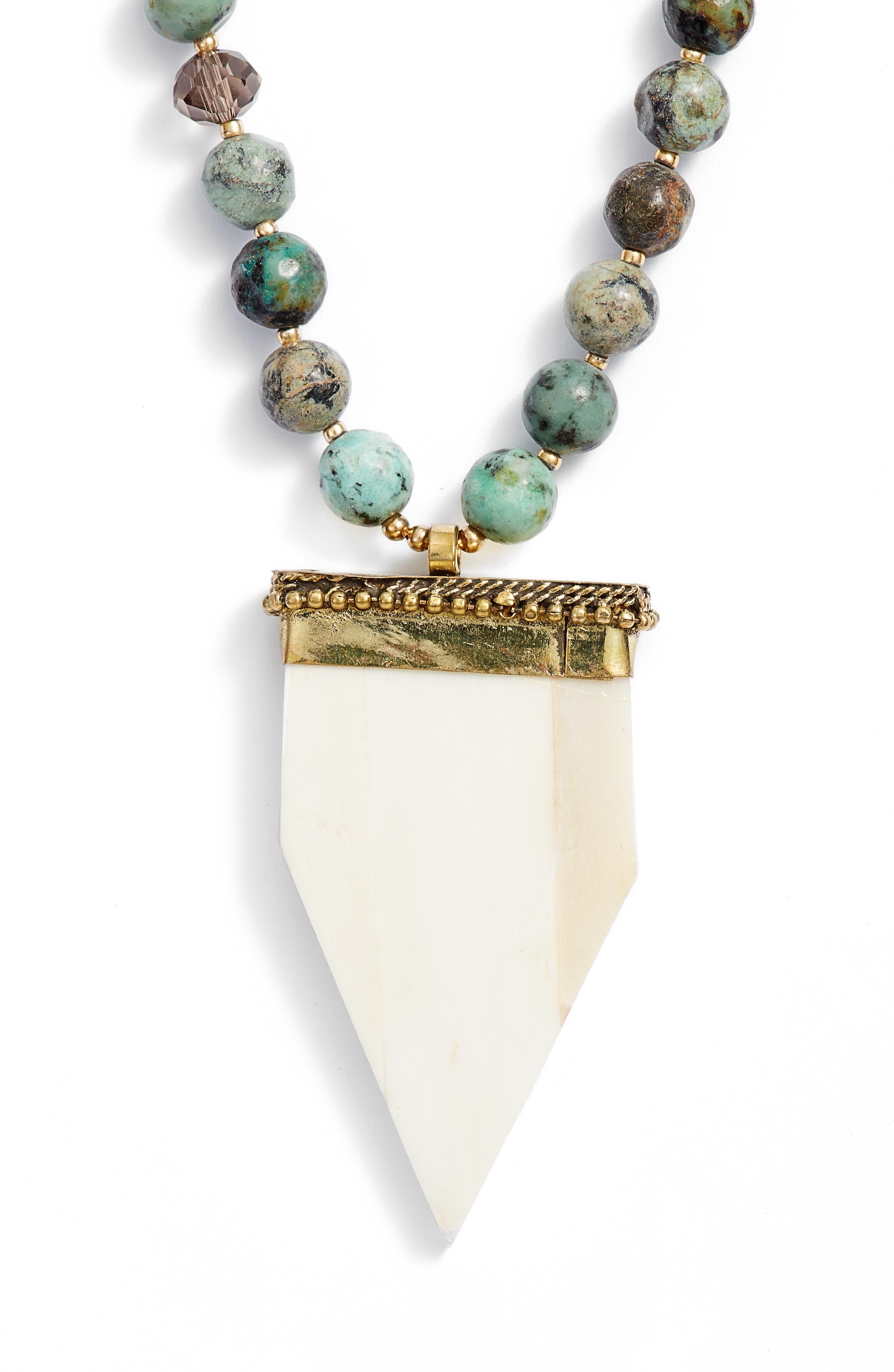 Love's Affect Phoenix Semiprecious Stone Statement Necklace,                         Main,                         color, Green