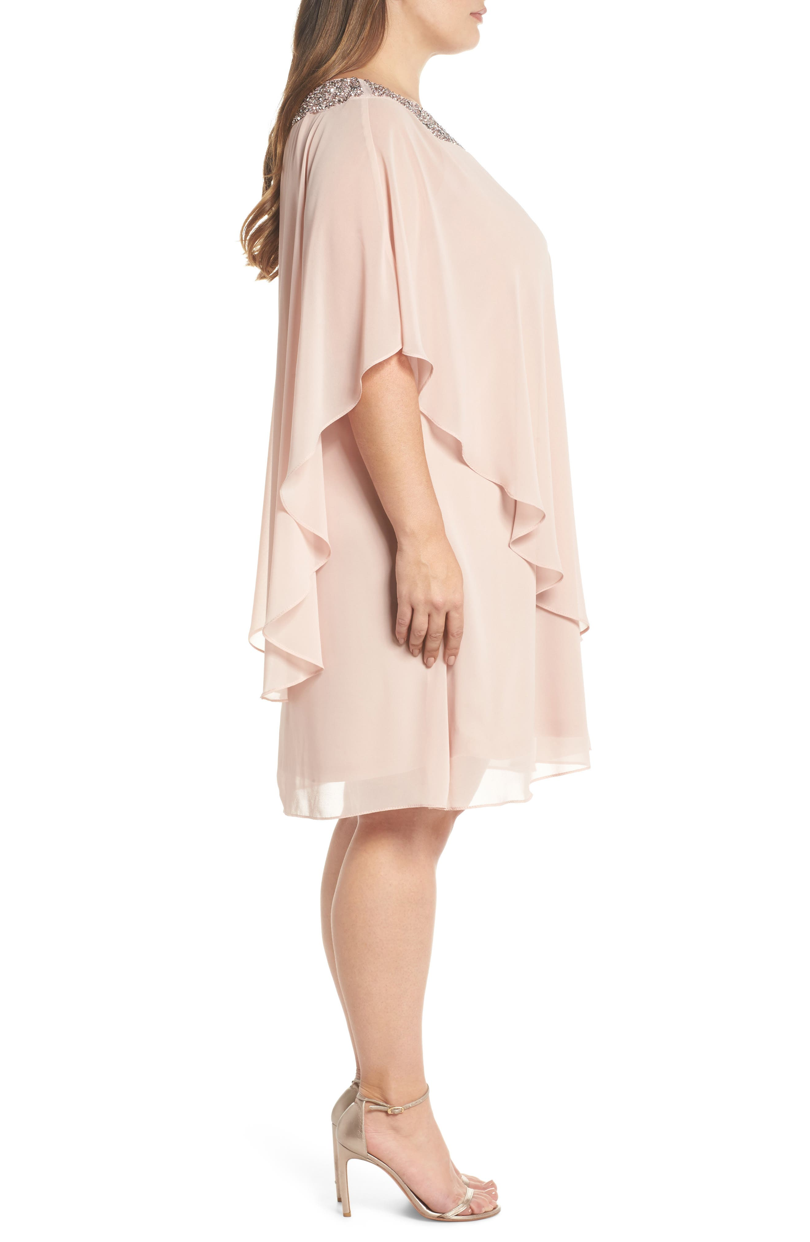 Beaded Neck Chiffon Overlay Dress,                             Alternate thumbnail 3, color,                             Blush/ Silver