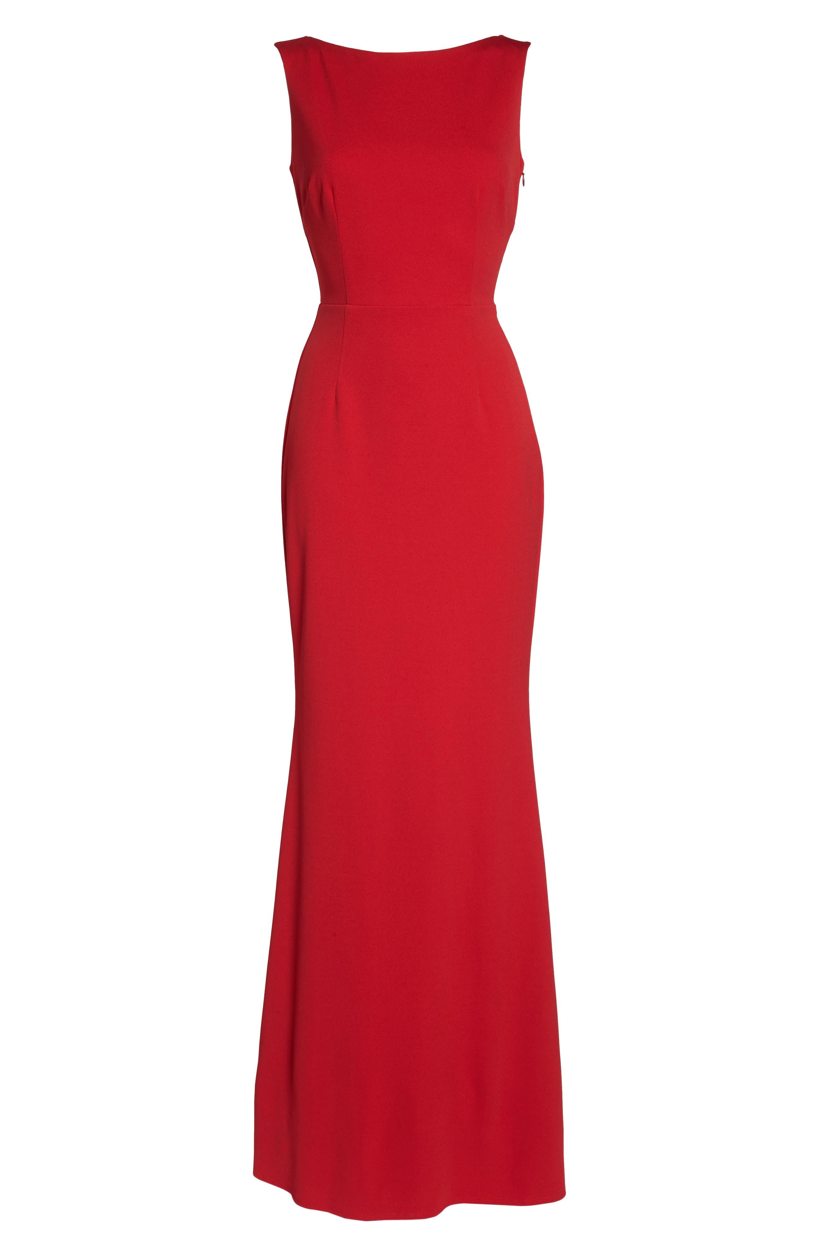 Vionnet Drape Back Crepe Gown,                             Alternate thumbnail 6, color,                             Red
