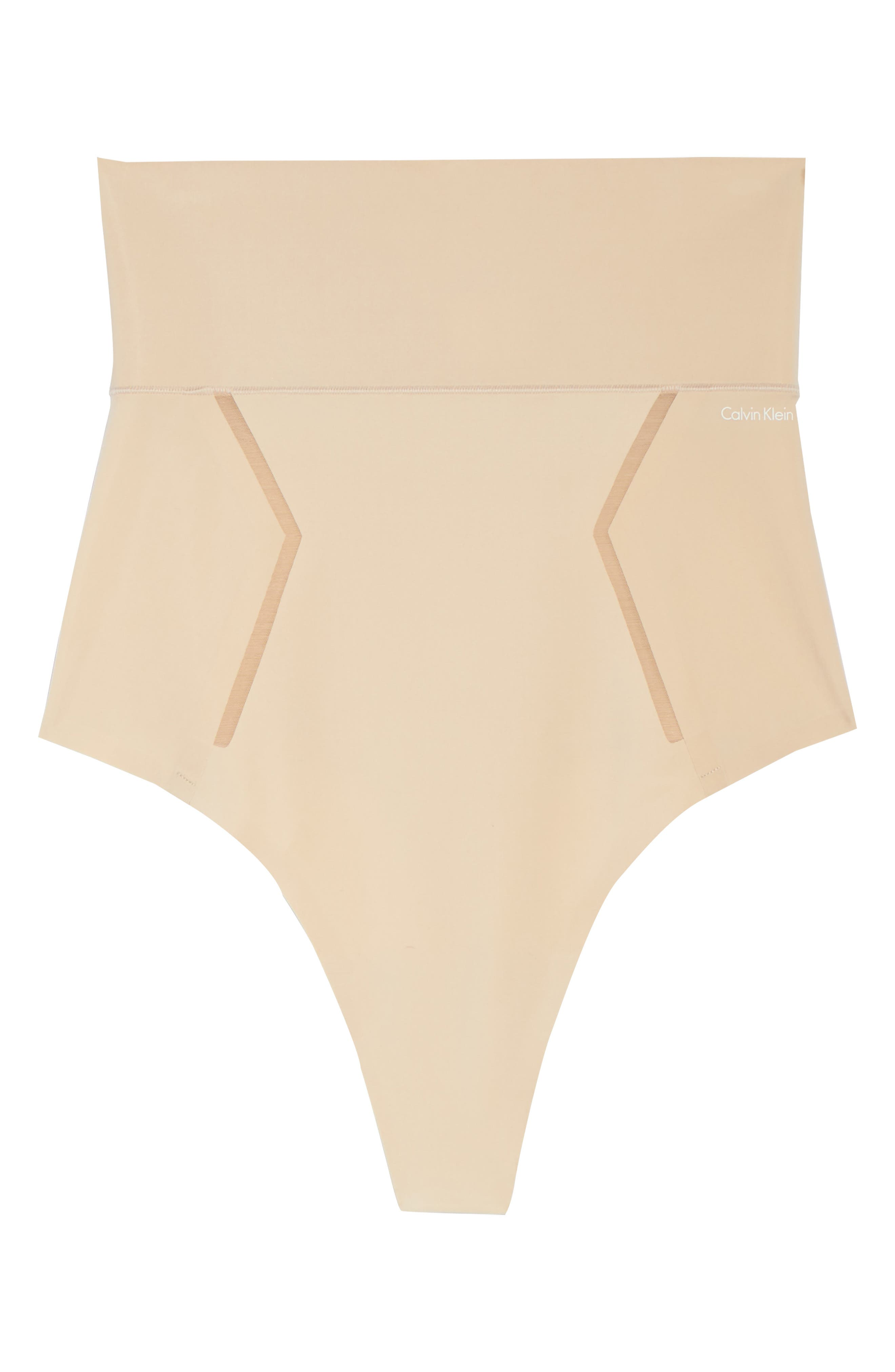 Sculpted Shapewear High Waist Thong,                             Alternate thumbnail 4, color,                             Bare