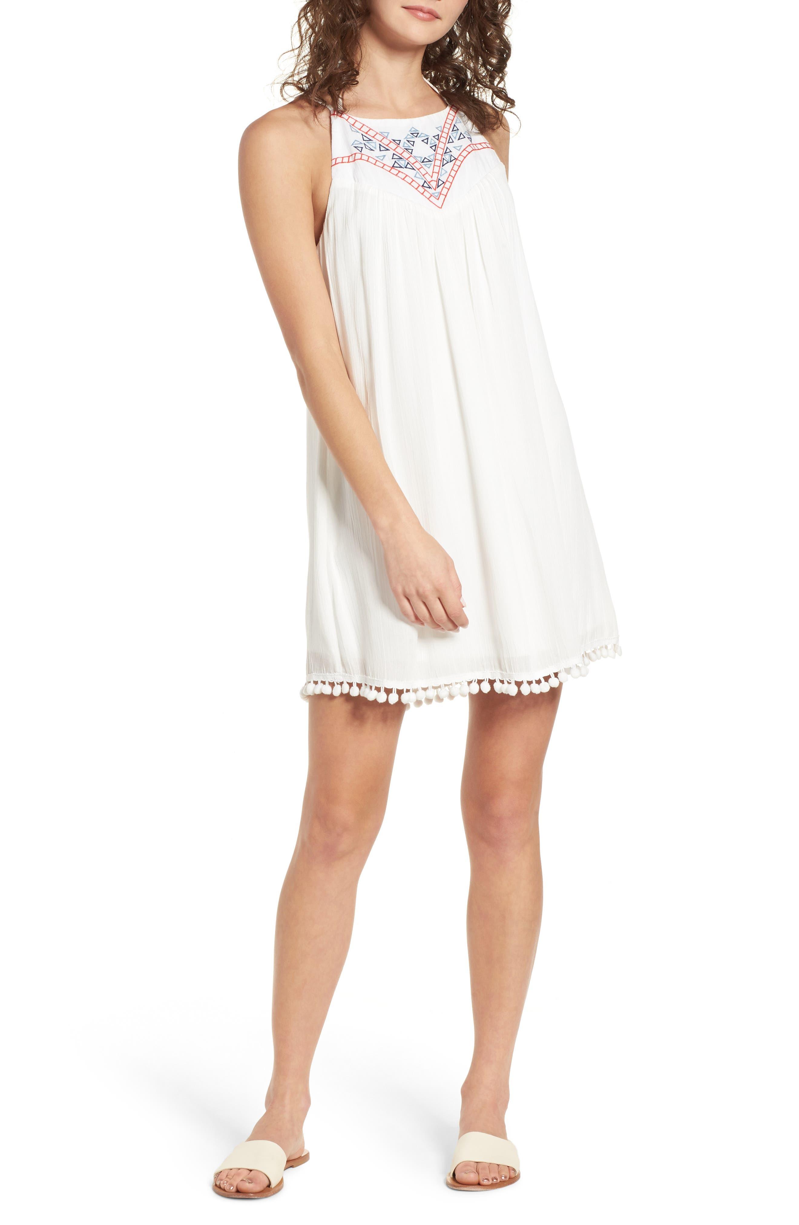 Embroidered Swing Dress,                             Main thumbnail 1, color,                             Milky White