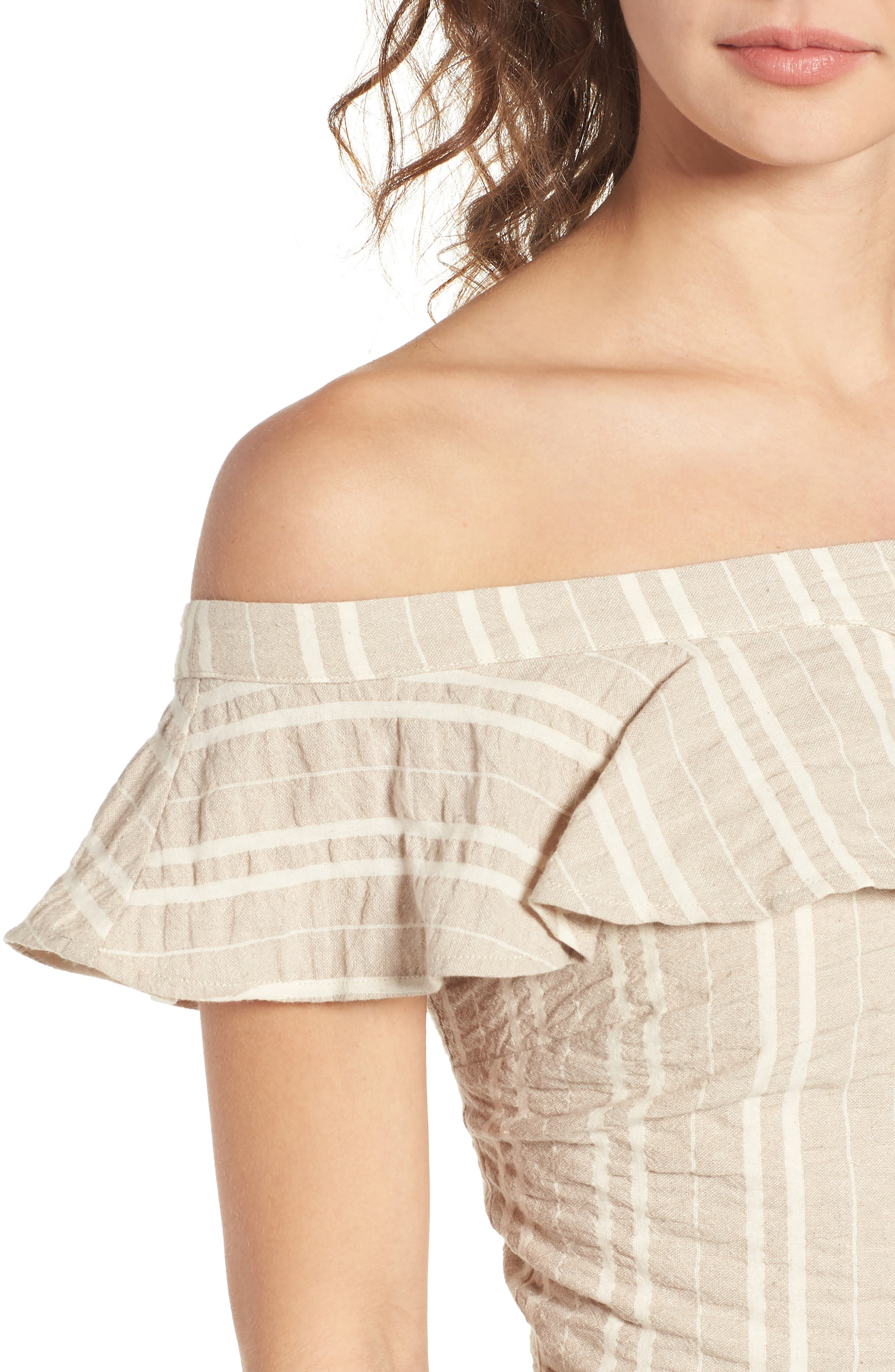 Stella Ruffle Off the Shoulder Crop Top,                             Alternate thumbnail 8, color,                             Creme