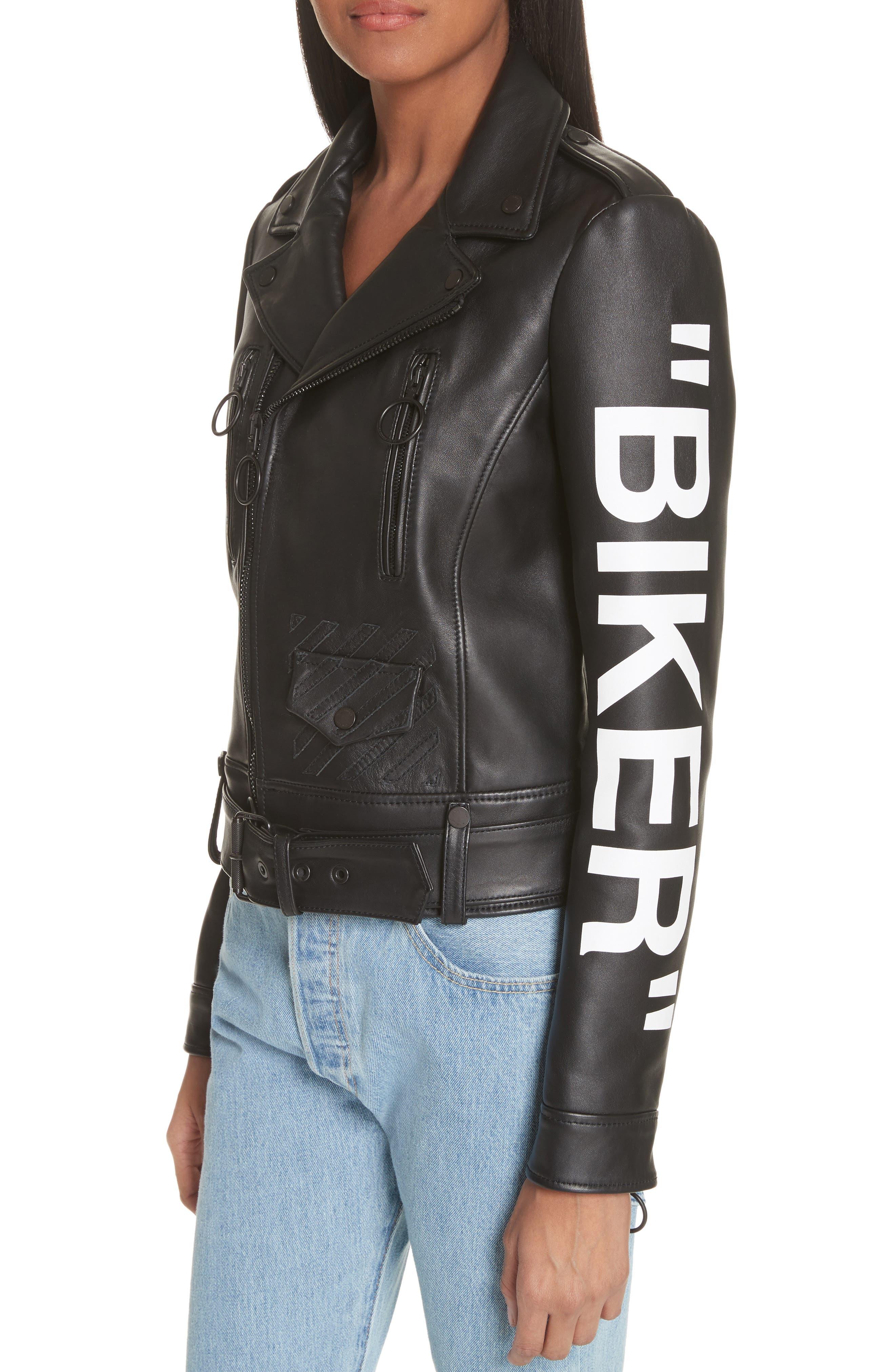 Leather Biker Jacket,                             Alternate thumbnail 4, color,                             Black/ White