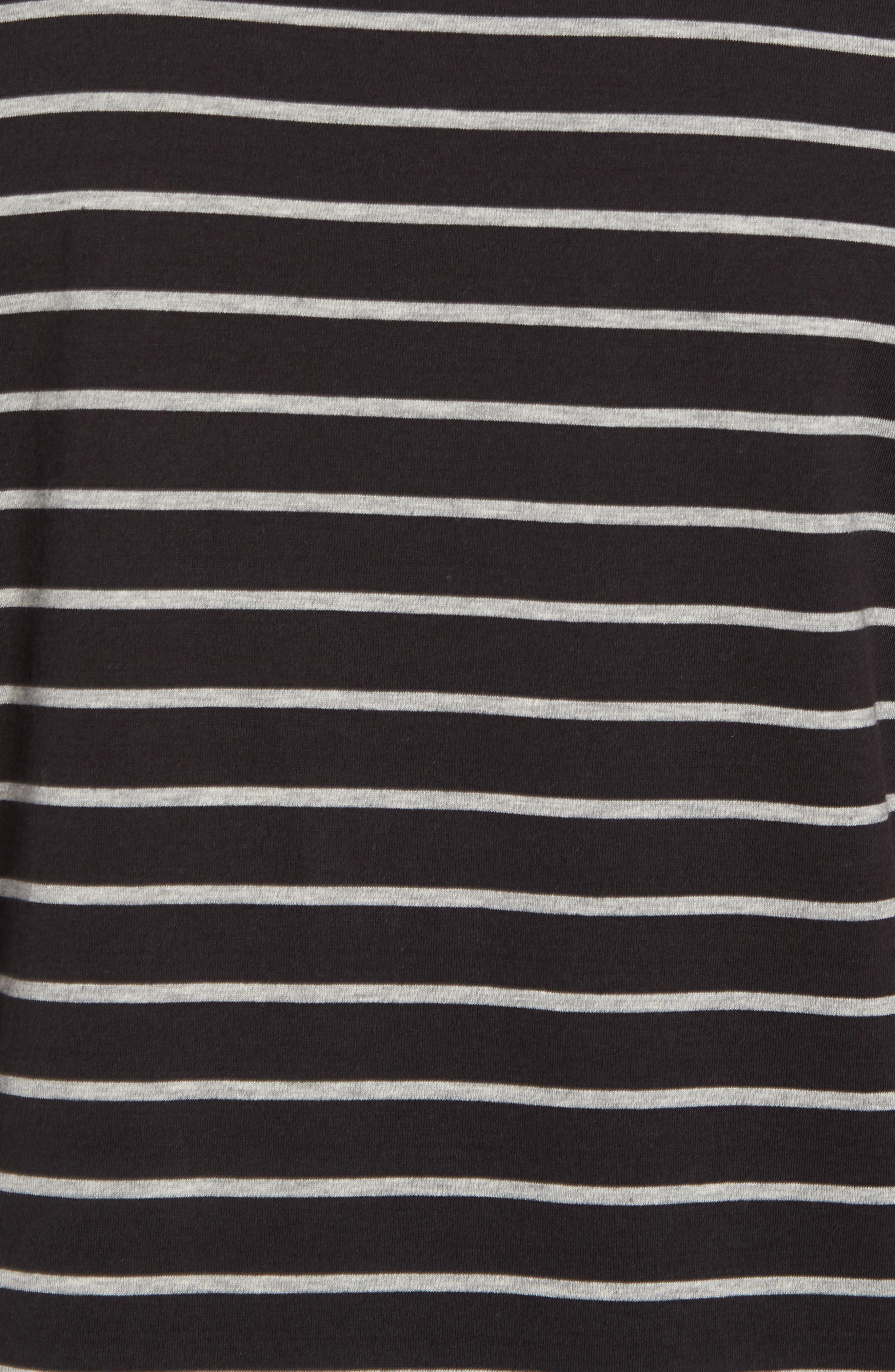 Slim Fit Heathered Stripe T-Shirt,                             Alternate thumbnail 5, color,                             Black/ Heather Steel