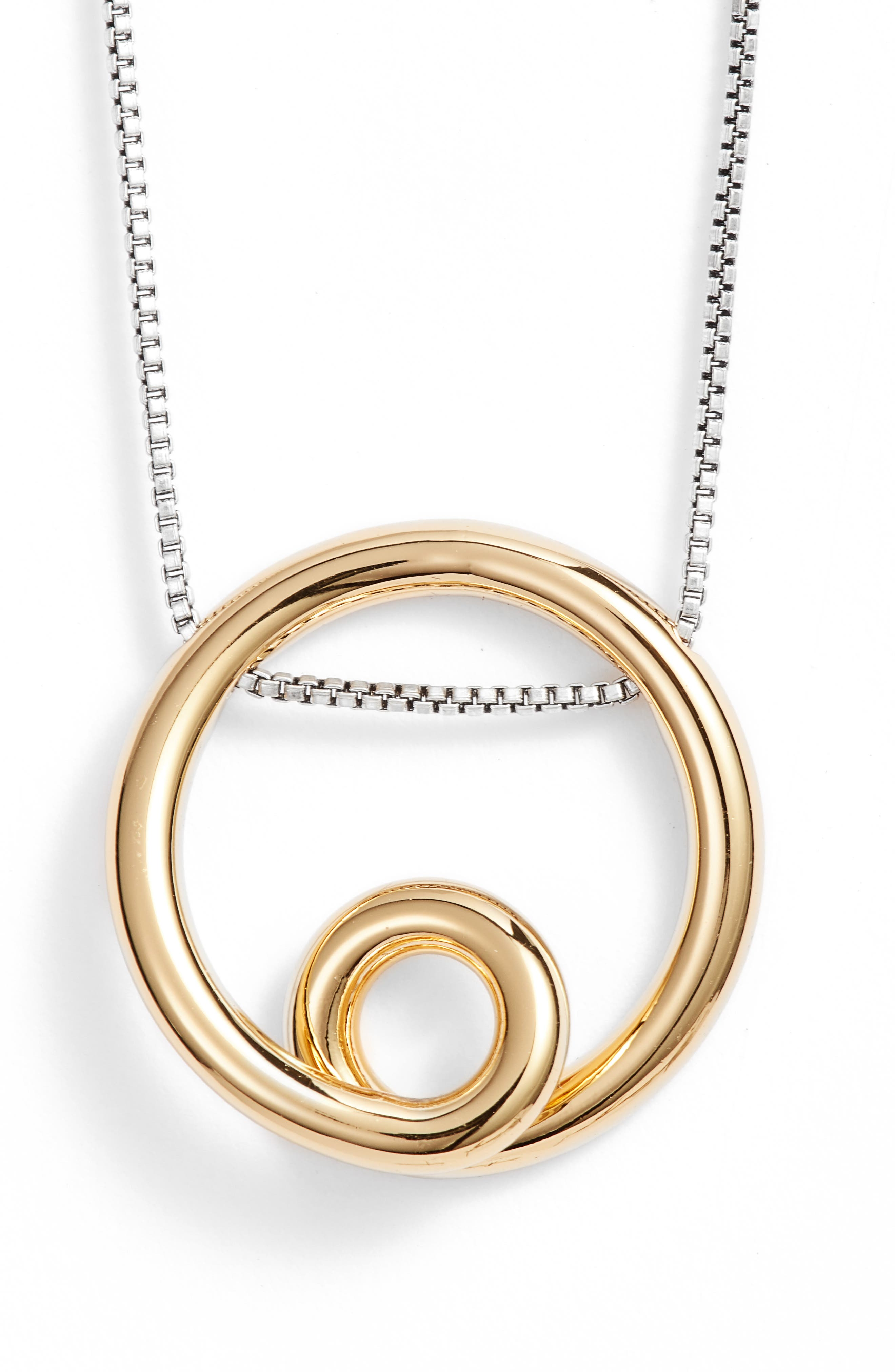 Mini Loop Pendant Necklace,                         Main,                         color, Two Tone