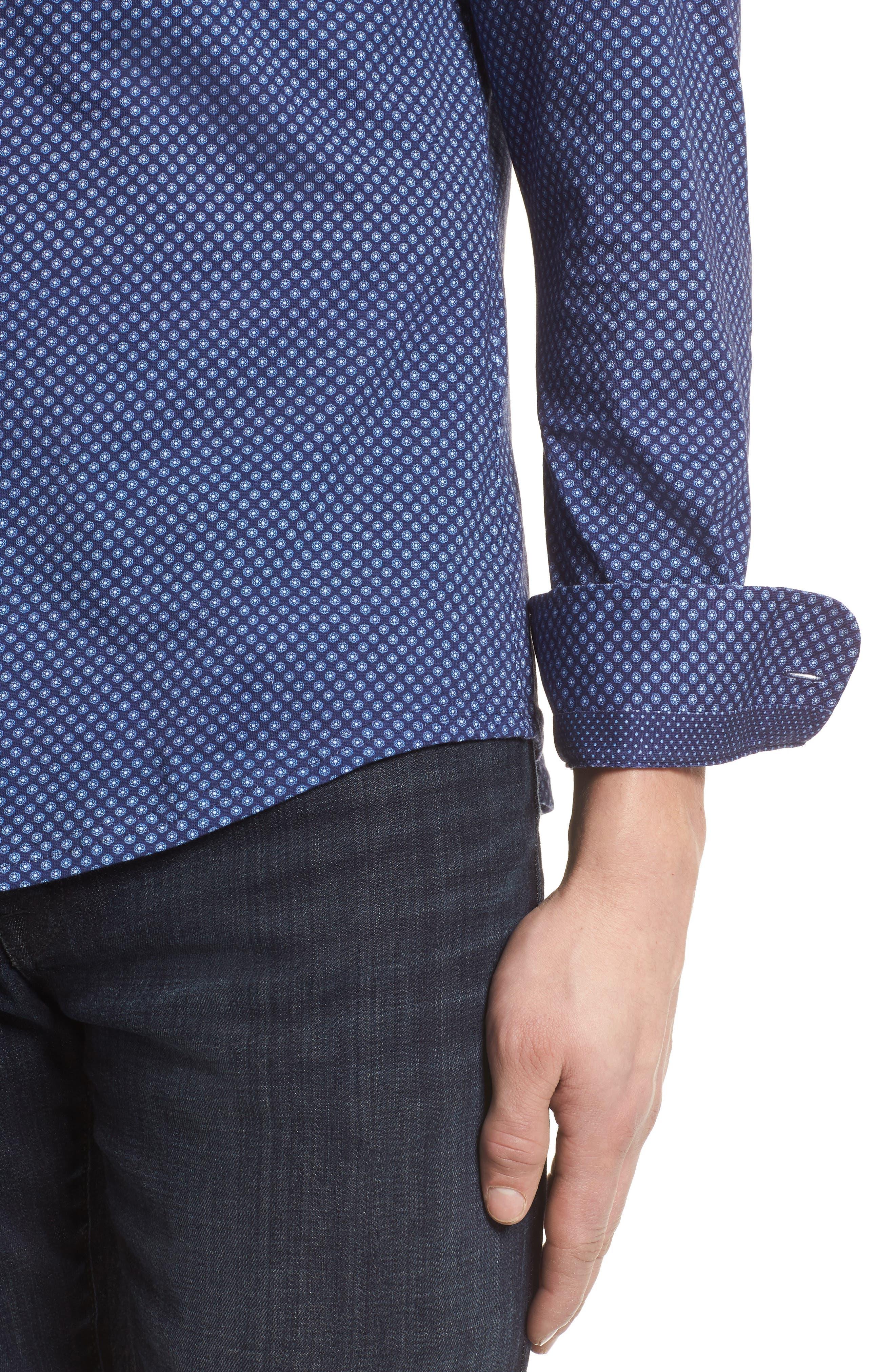 Floral Geo Print Knit Sport Shirt,                             Alternate thumbnail 4, color,                             Navy
