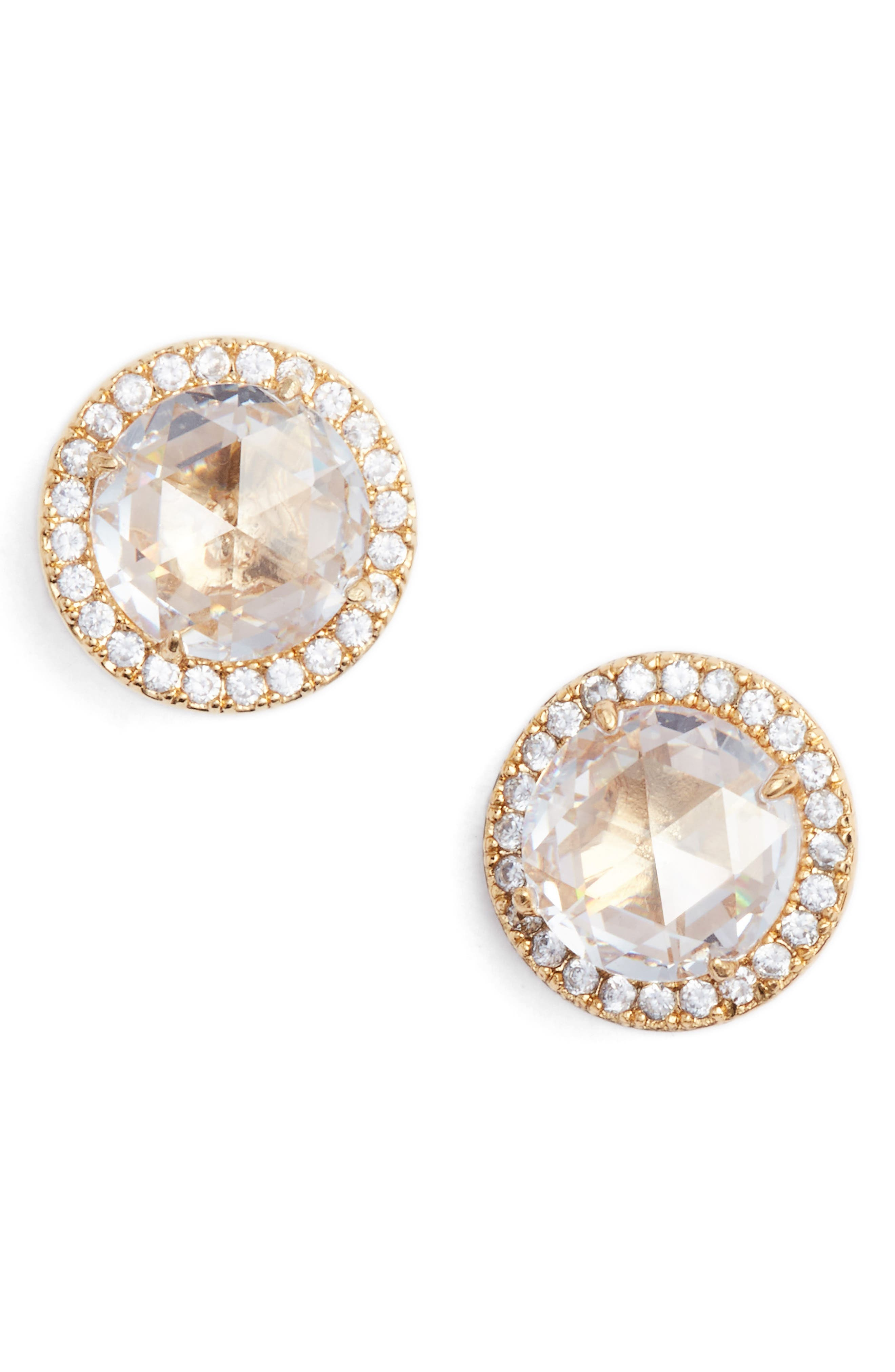 bright ideas pavé halo stud earrings,                             Main thumbnail 1, color,                             Clear/ Gold