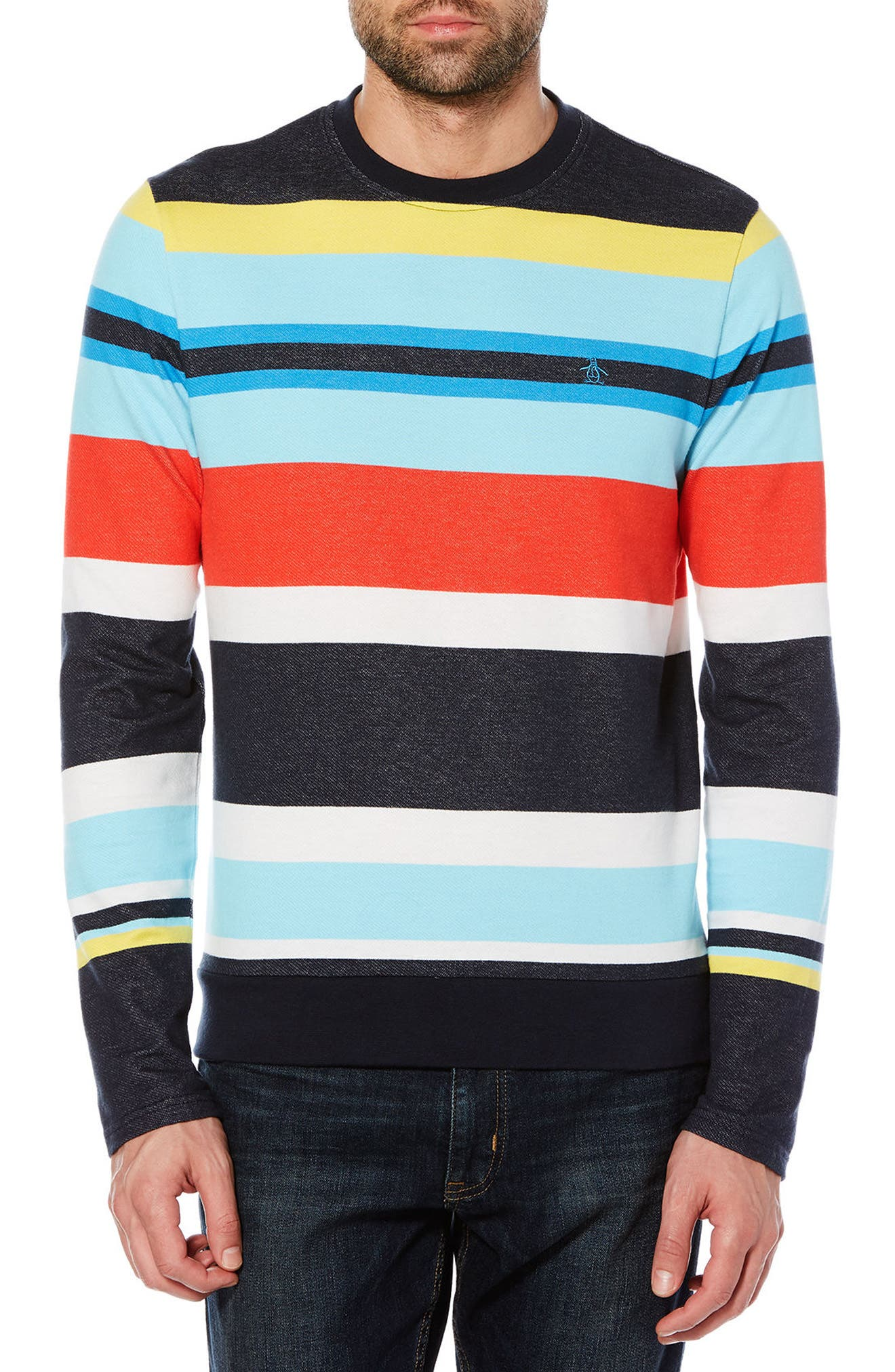Engineered Stripe T-Shirt,                             Main thumbnail 1, color,                             Dark Sapphire