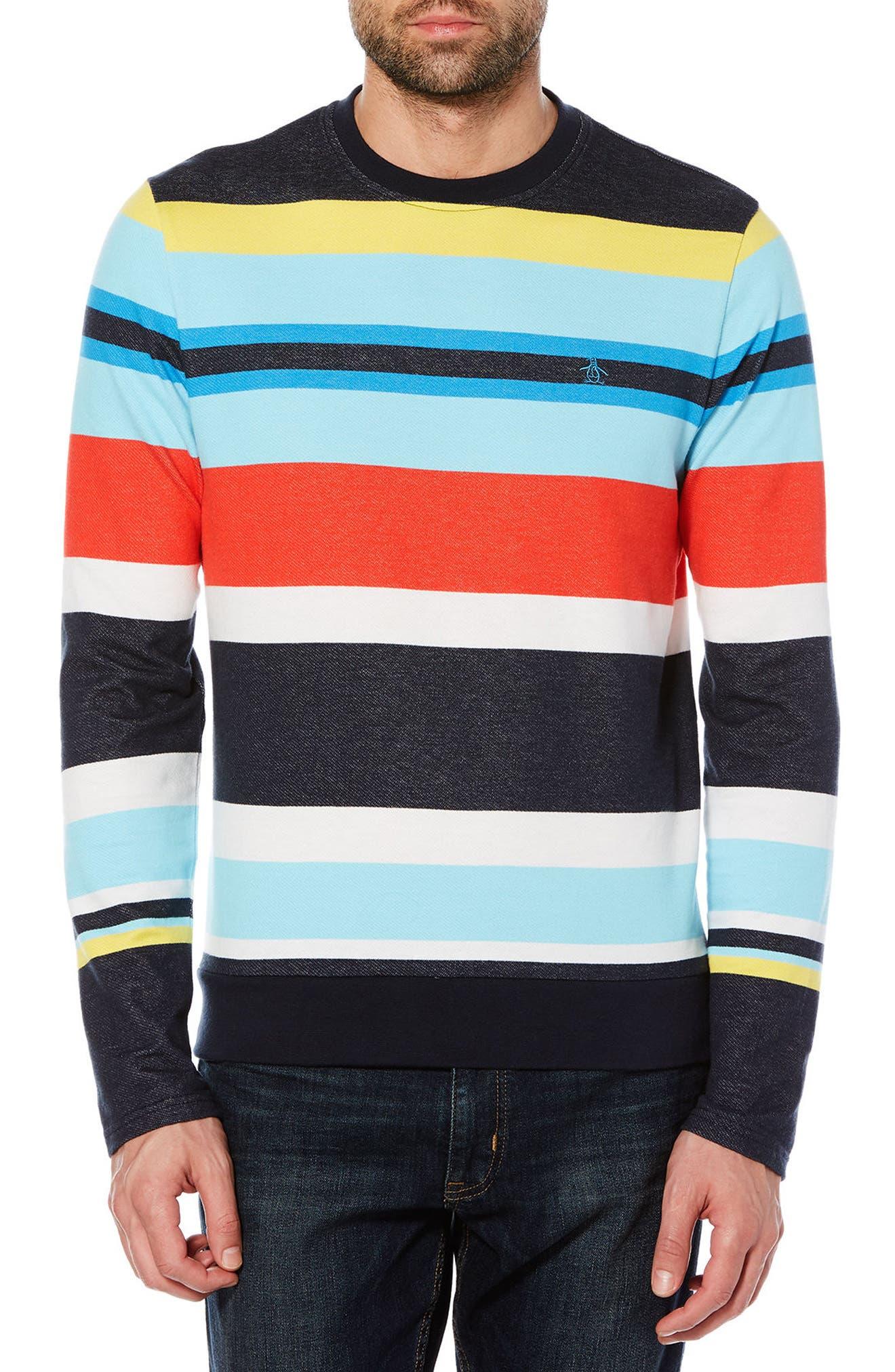 Engineered Stripe T-Shirt,                         Main,                         color, Dark Sapphire