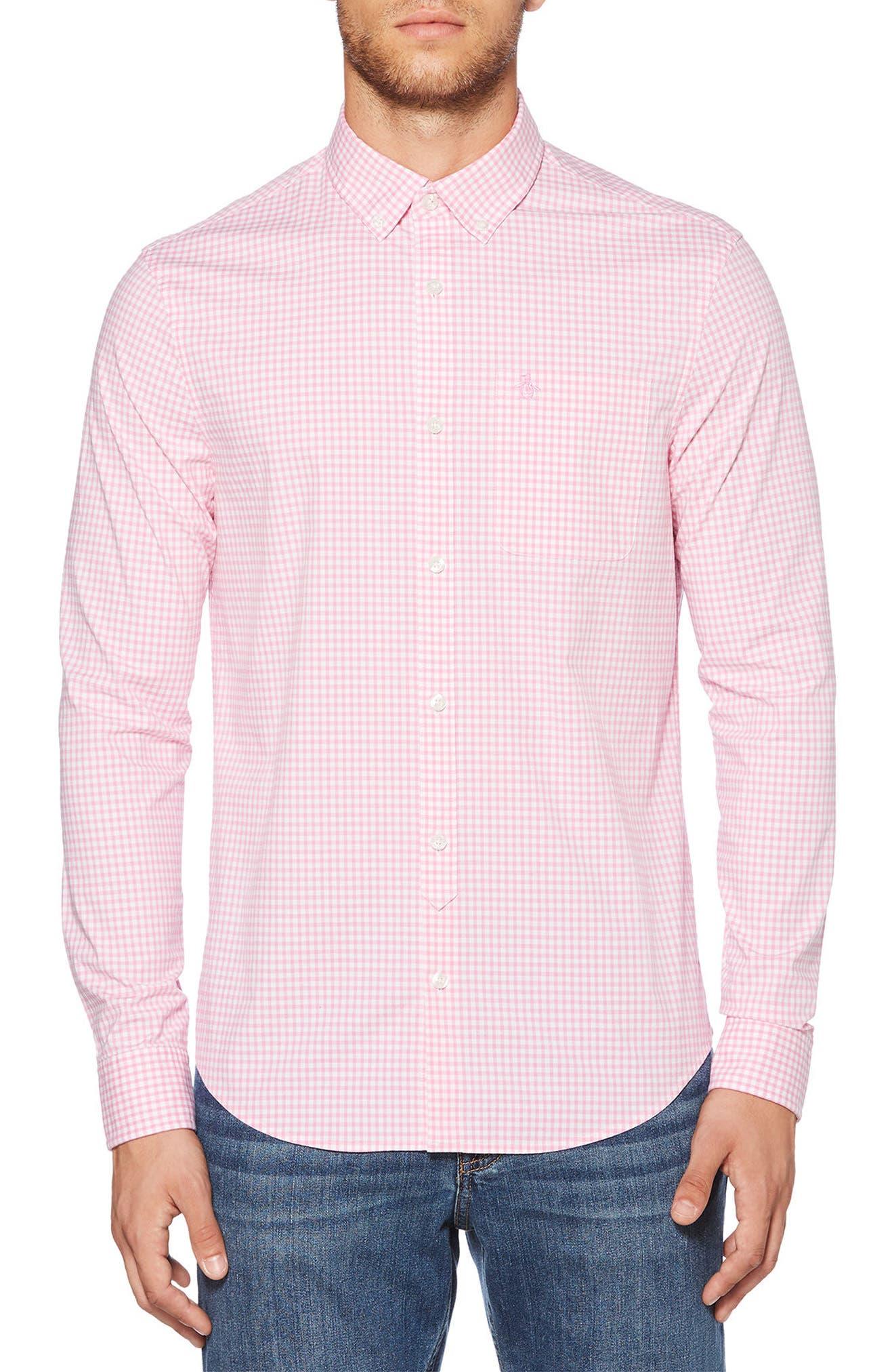 Gingham Shirt,                             Main thumbnail 1, color,                             Fuchsia Pink