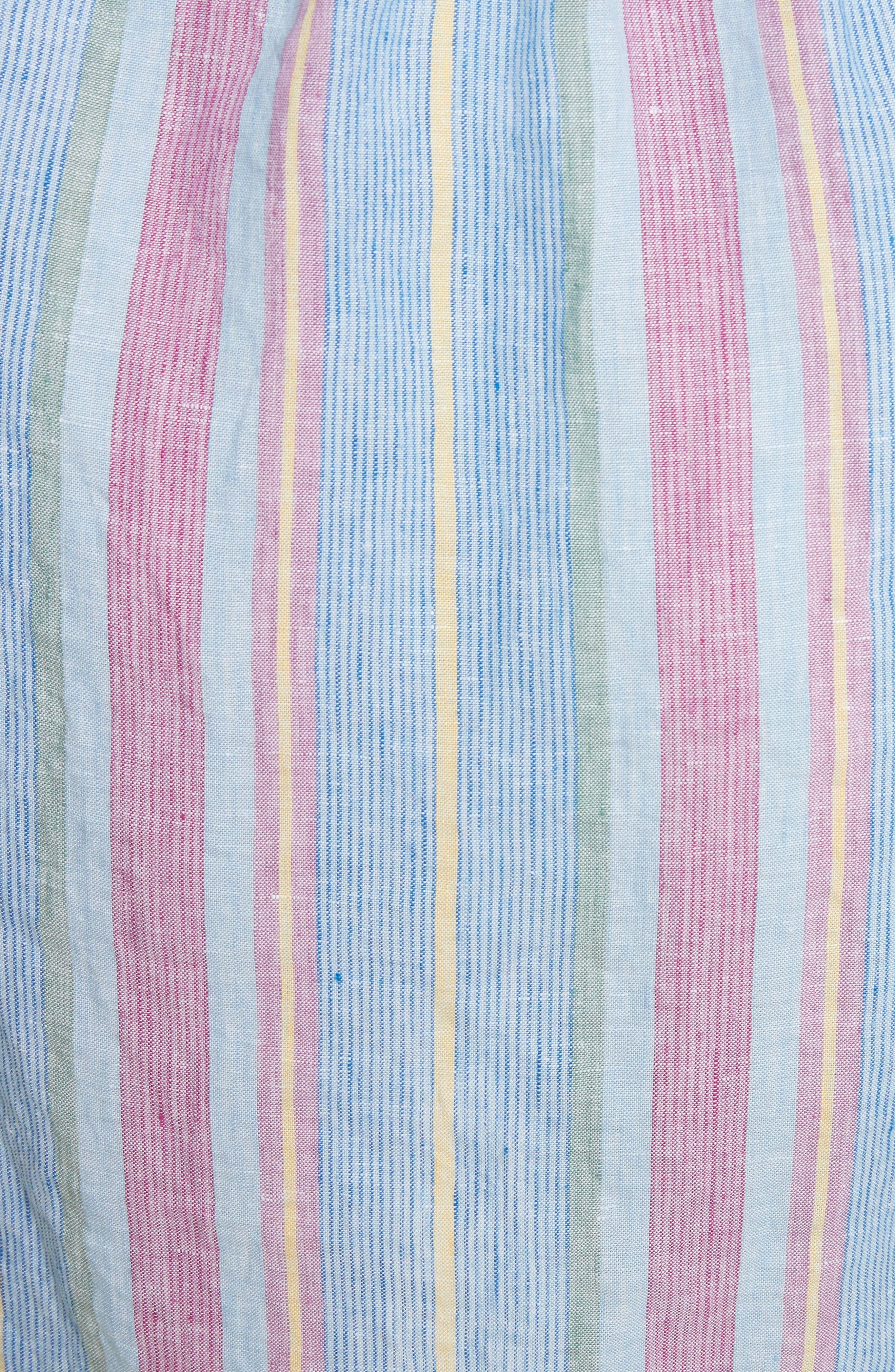 Stripe Off the Shoulder Linen Dress,                             Alternate thumbnail 5, color,                             Purple Multi