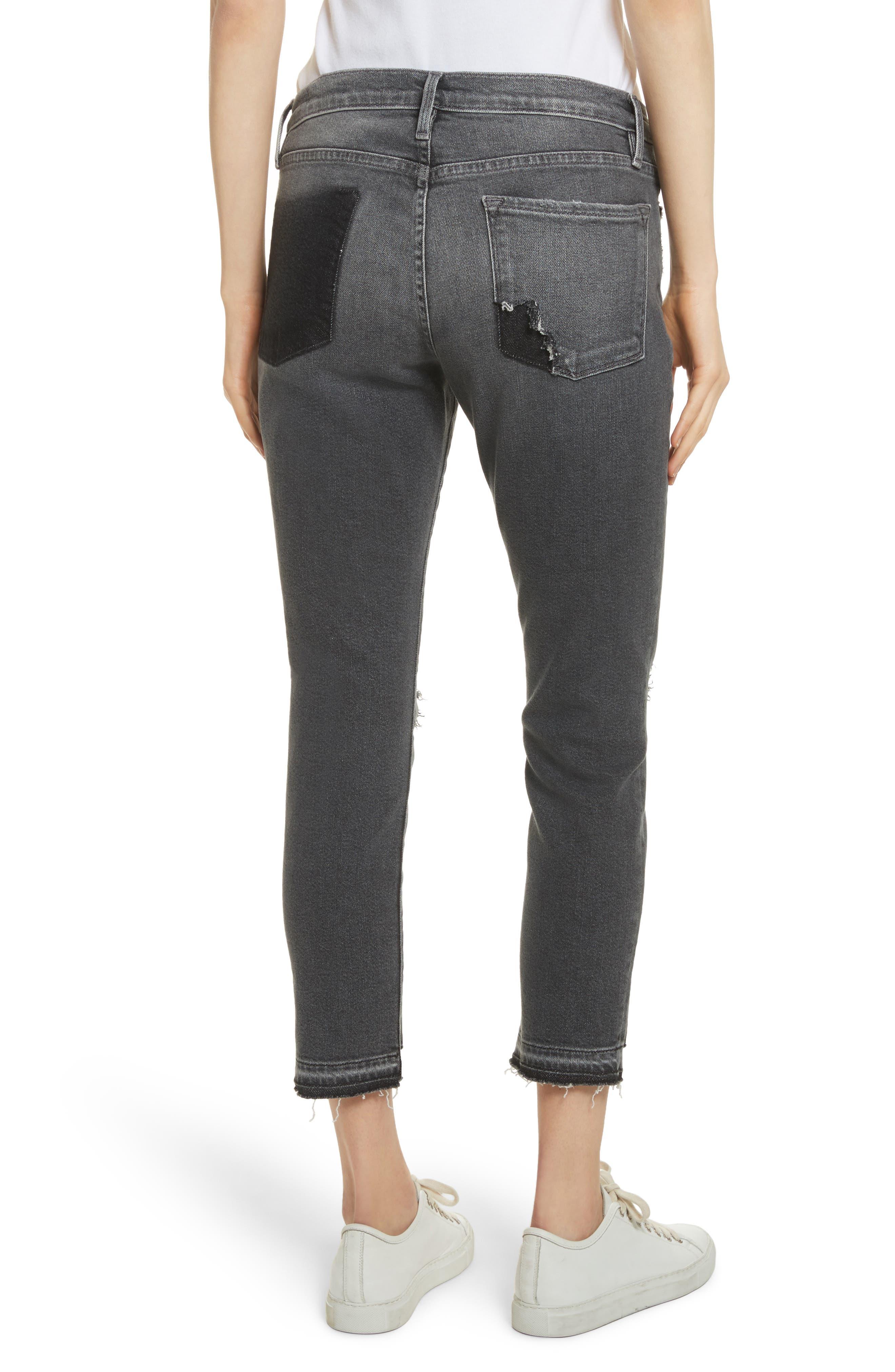 Le Garçon Ripped Released Hem Slim Jeans,                             Alternate thumbnail 3, color,                             Stockcross