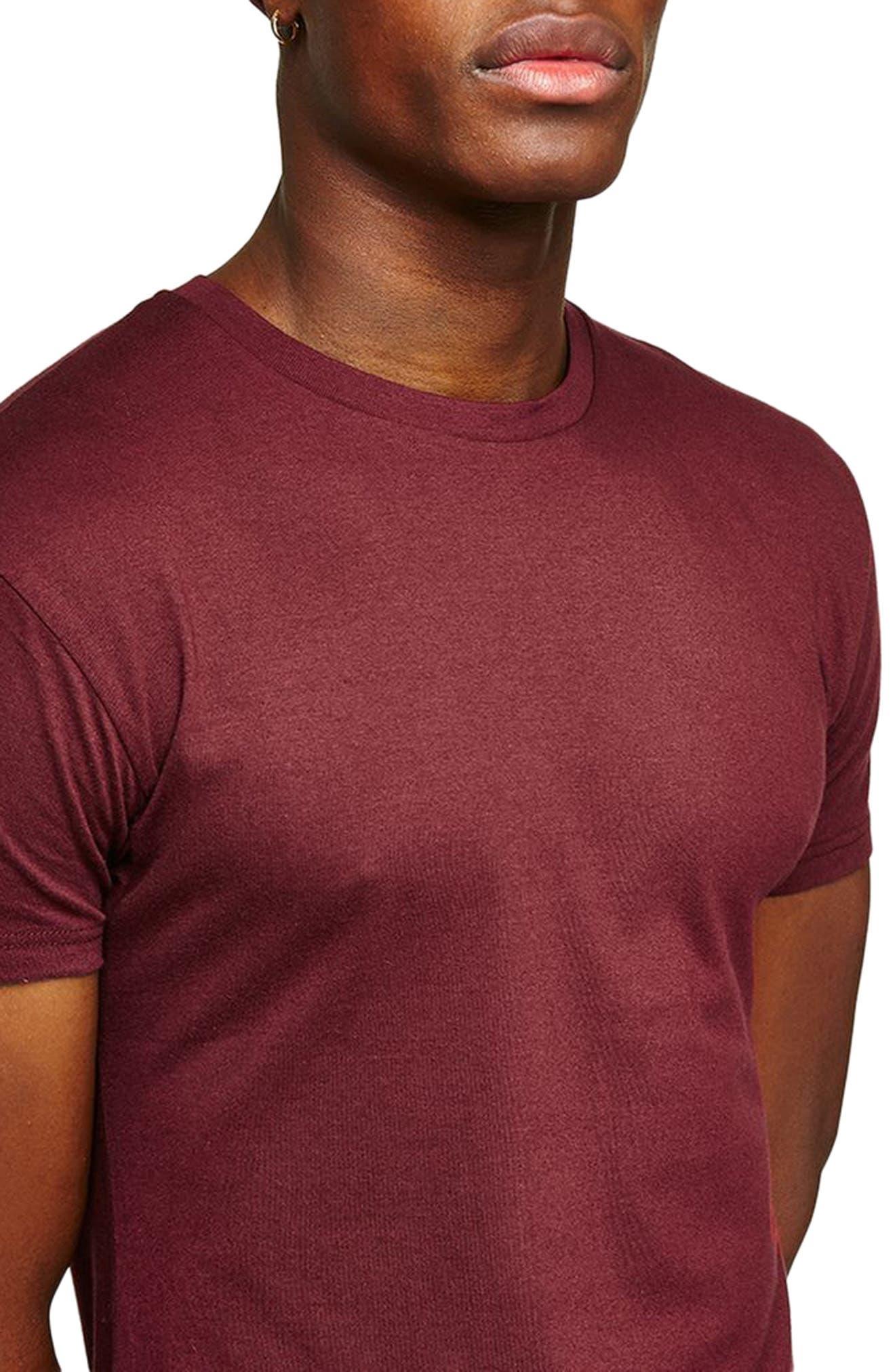 Muscle Fit Longline T-Shirt,                             Alternate thumbnail 3, color,                             Burgundy