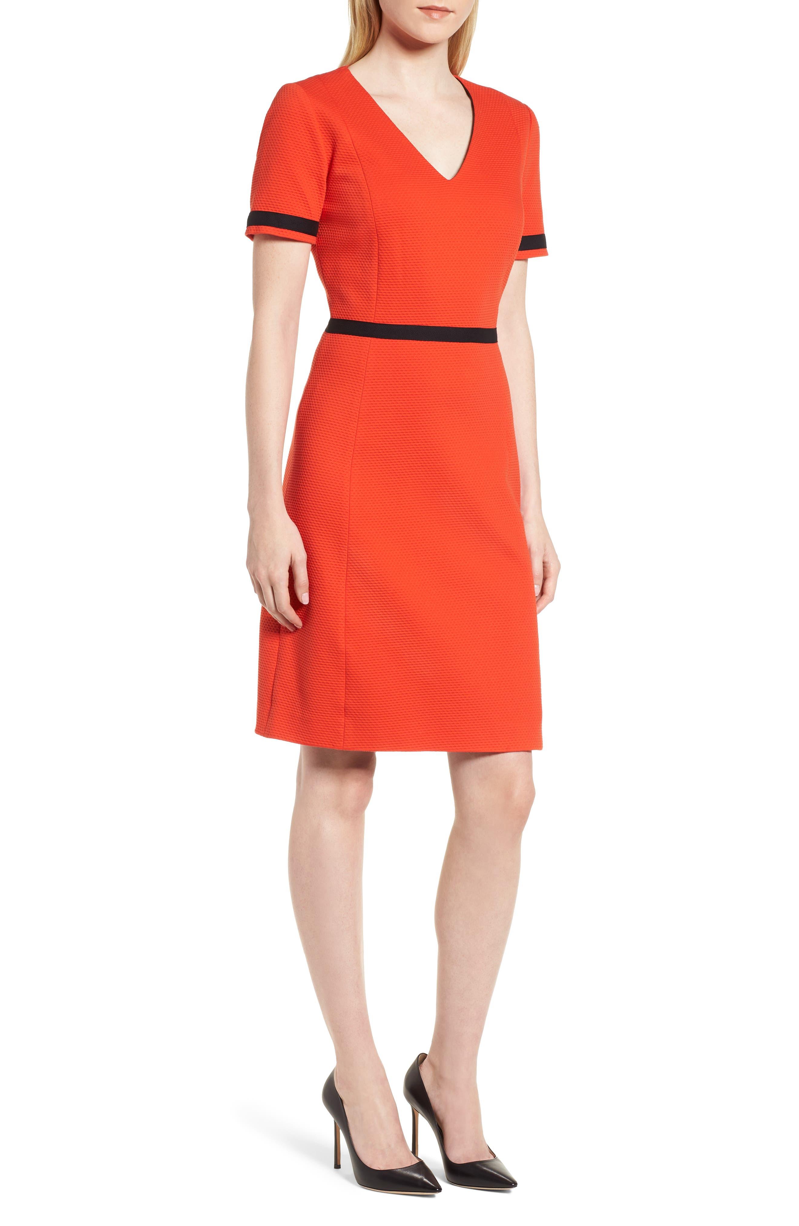 BOSS Higaniu A-Line Piqué Dress (Regular & Petite)