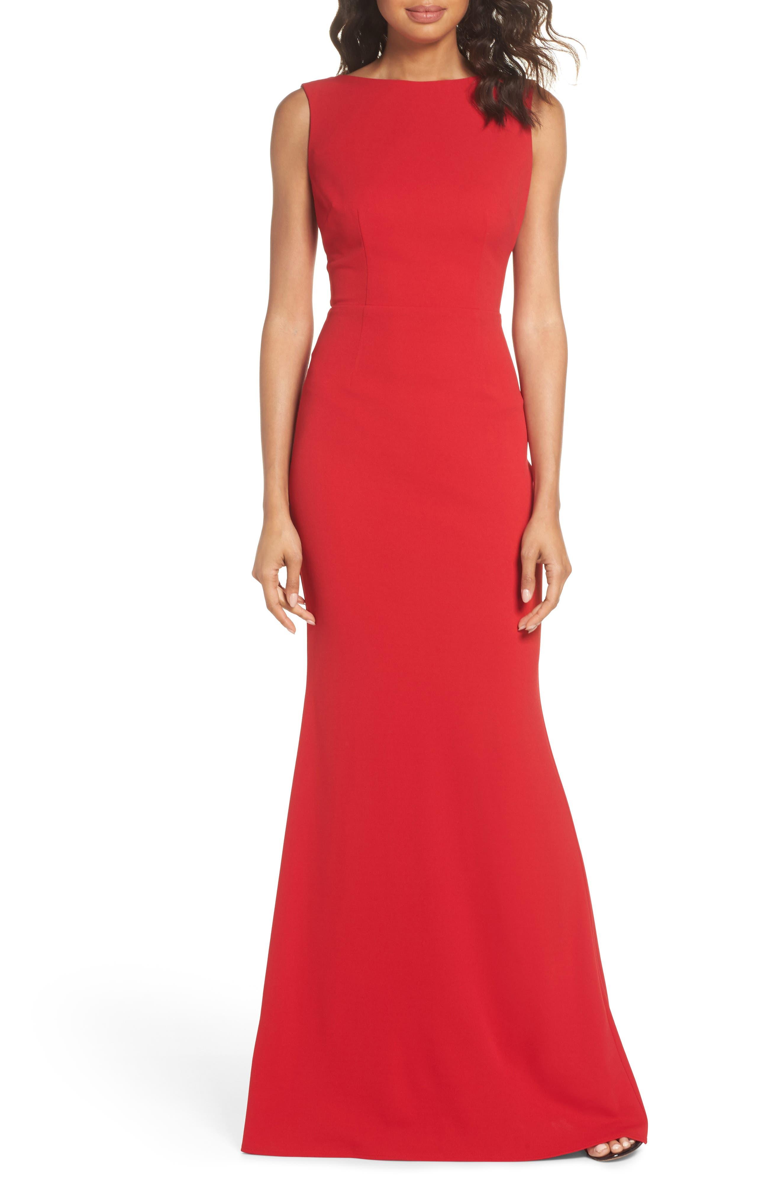 Vionnet Drape Back Crepe Gown,                             Main thumbnail 1, color,                             Red