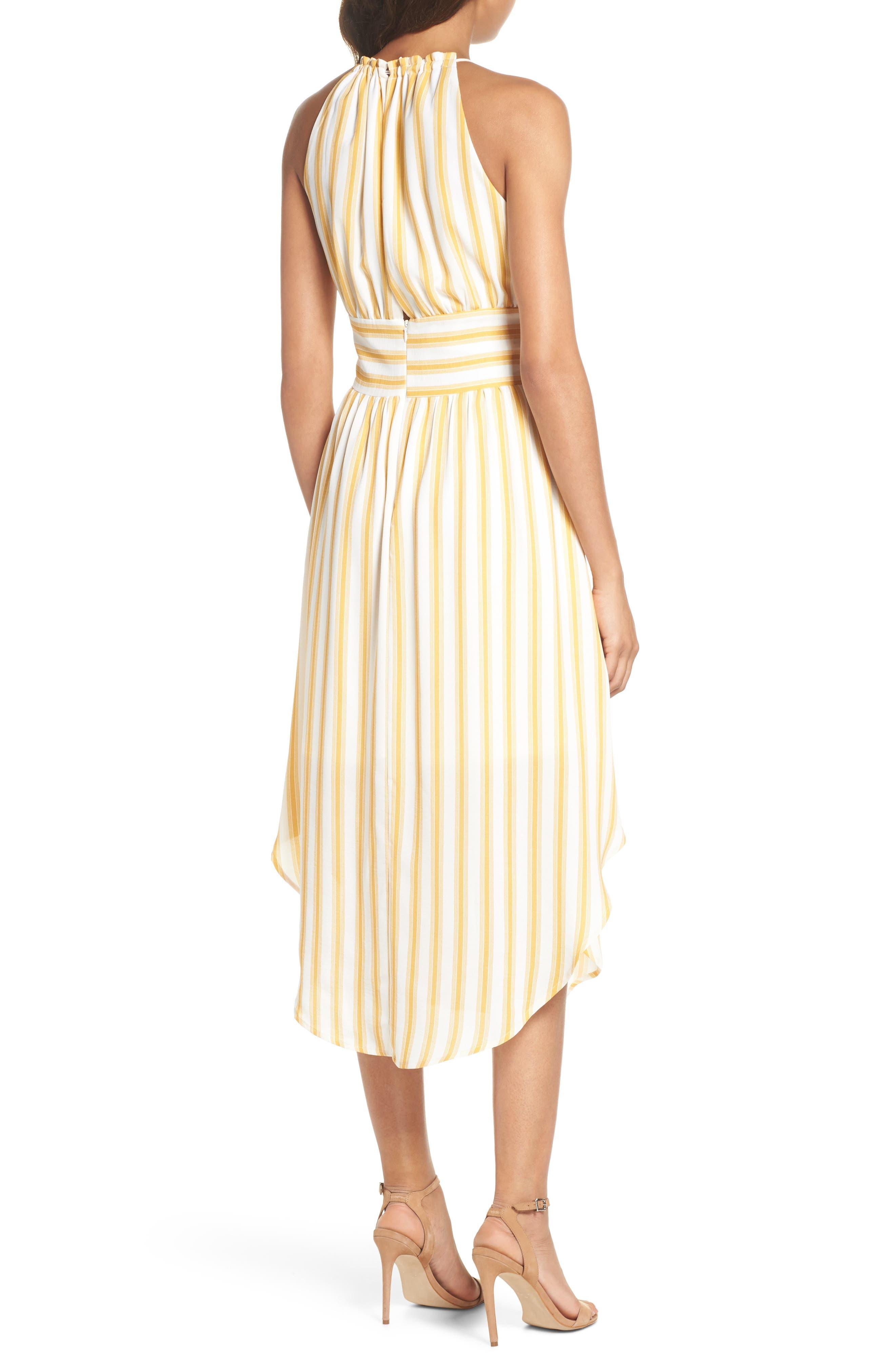 Leena Stripe Midi Dress,                             Alternate thumbnail 2, color,                             Mustard