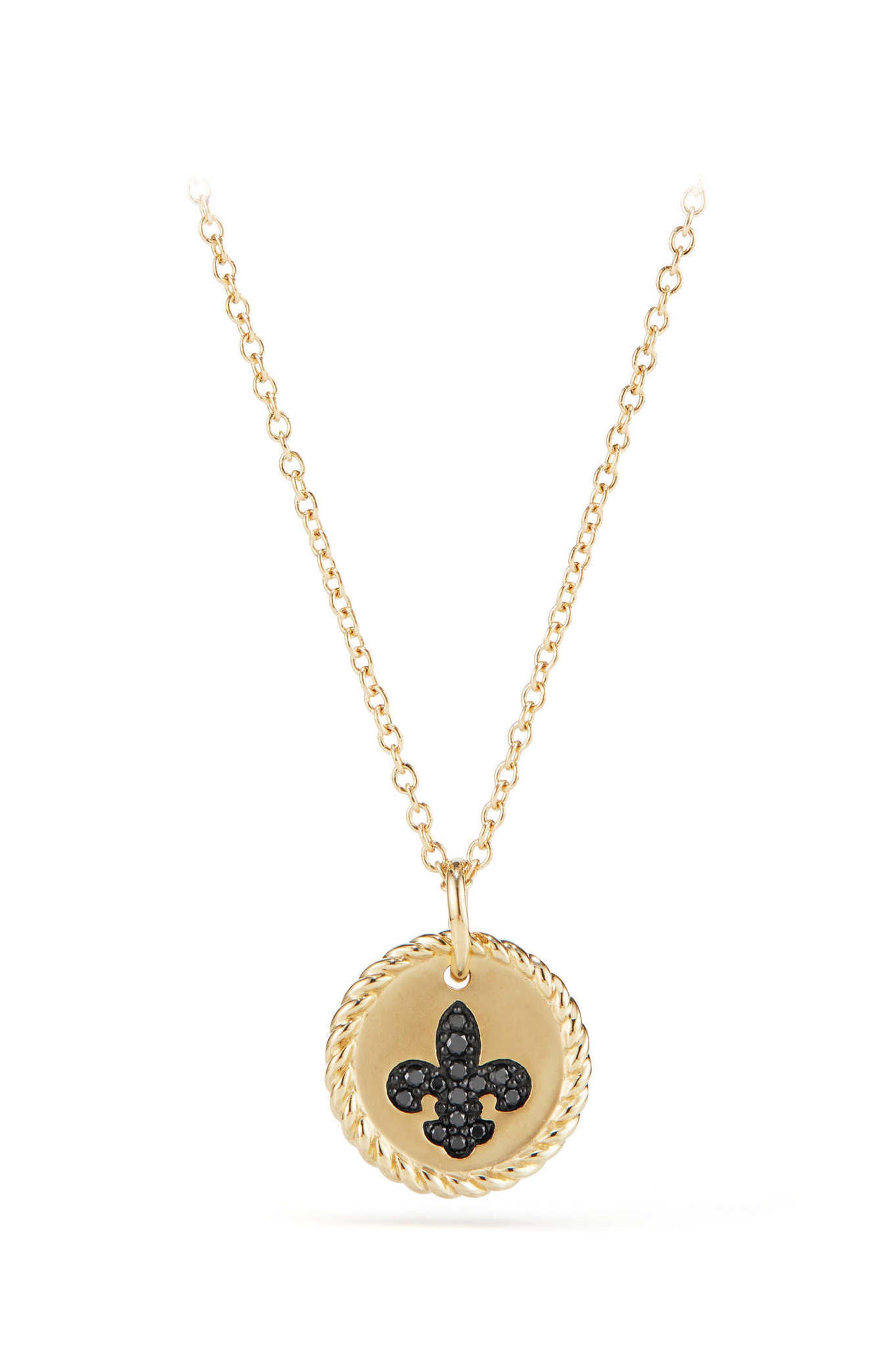 David Yurman Cable Collectibles Fleur de Lis Necklace with Black Diamonds in 18K Gold