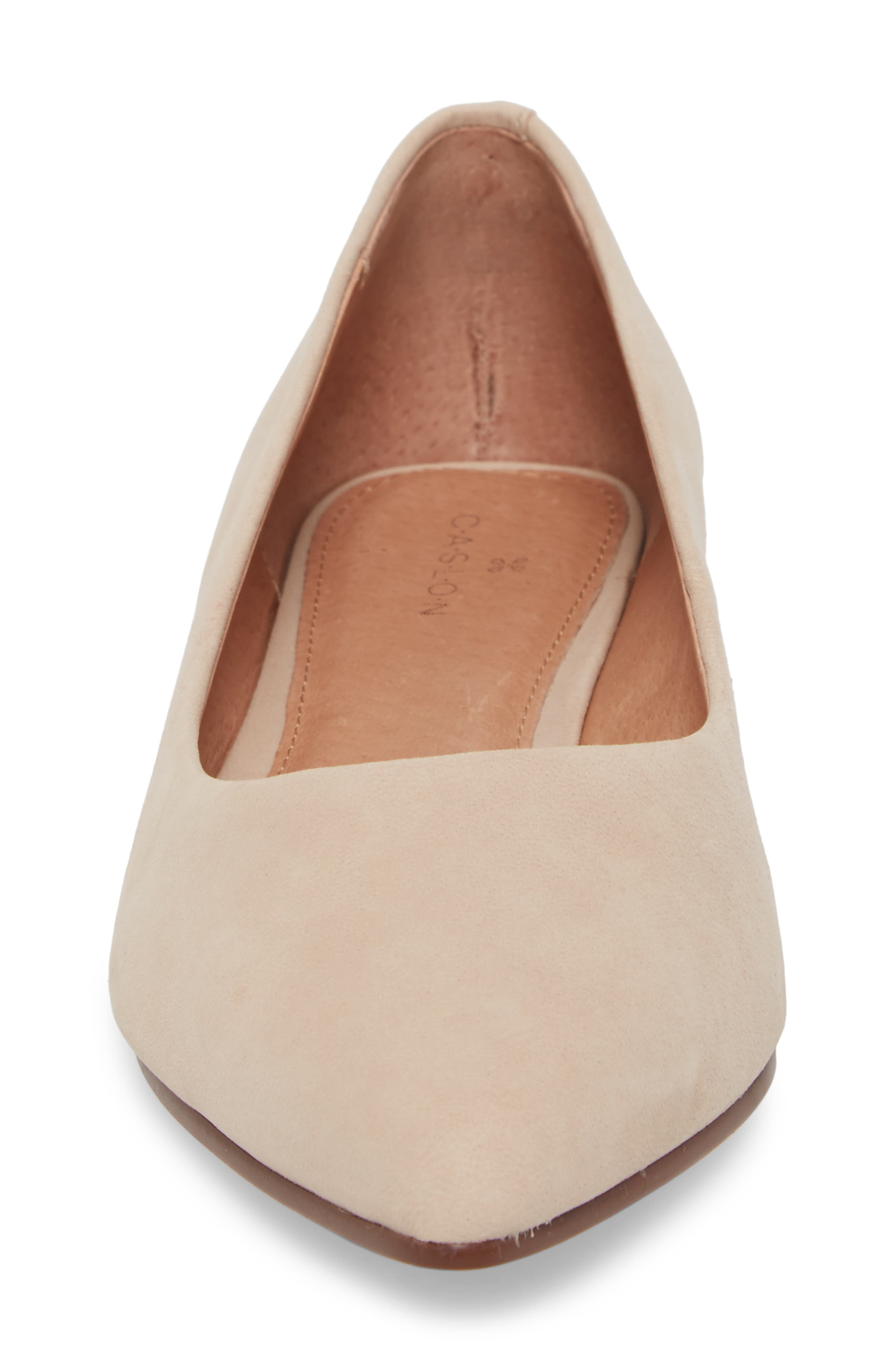 Luna Pointy Toe Flat,                             Alternate thumbnail 4, color,                             Nude Nubuck