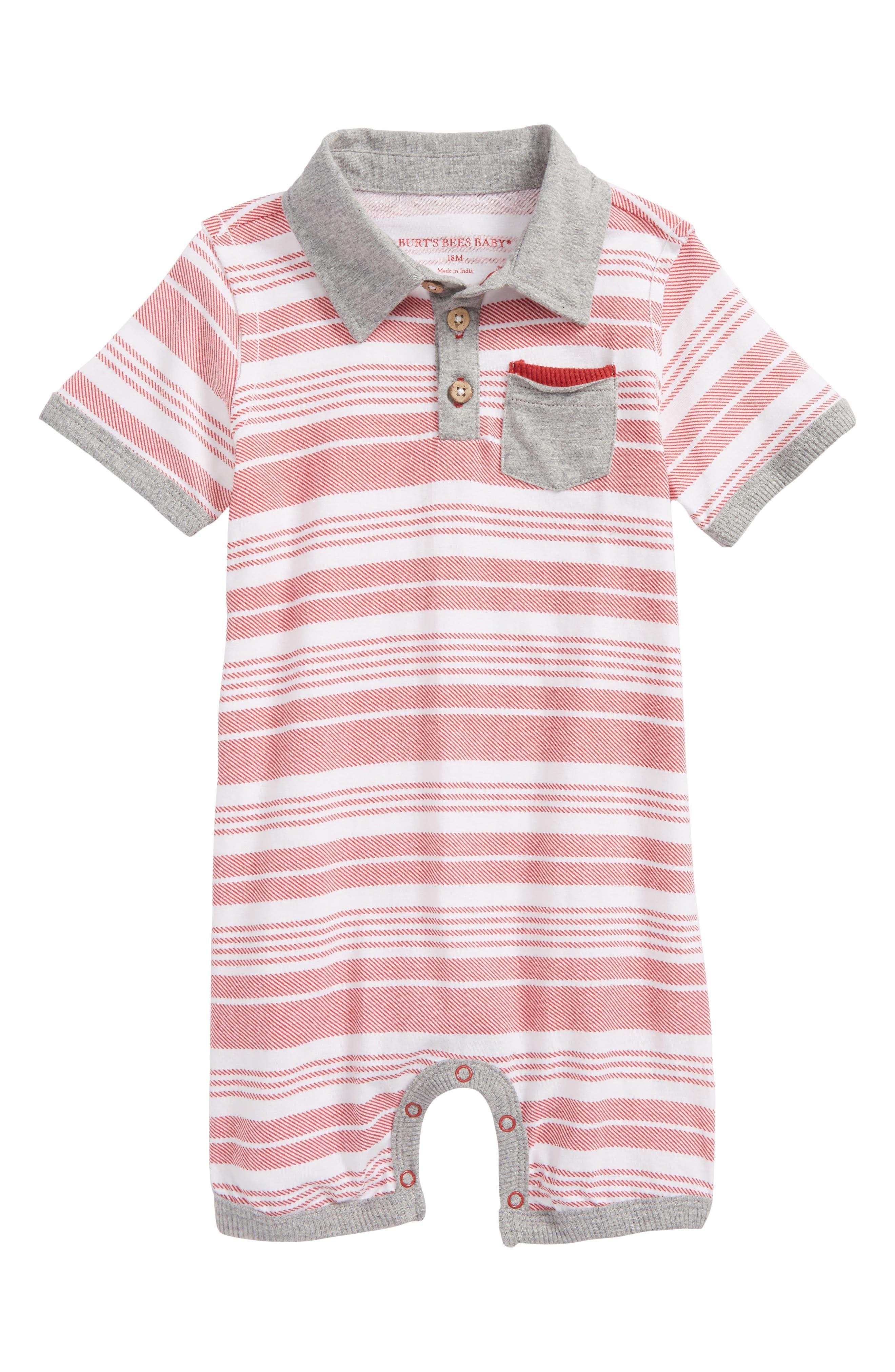 Burt's Bees Baby Organic Cotton Polo Romper (Baby Boys)