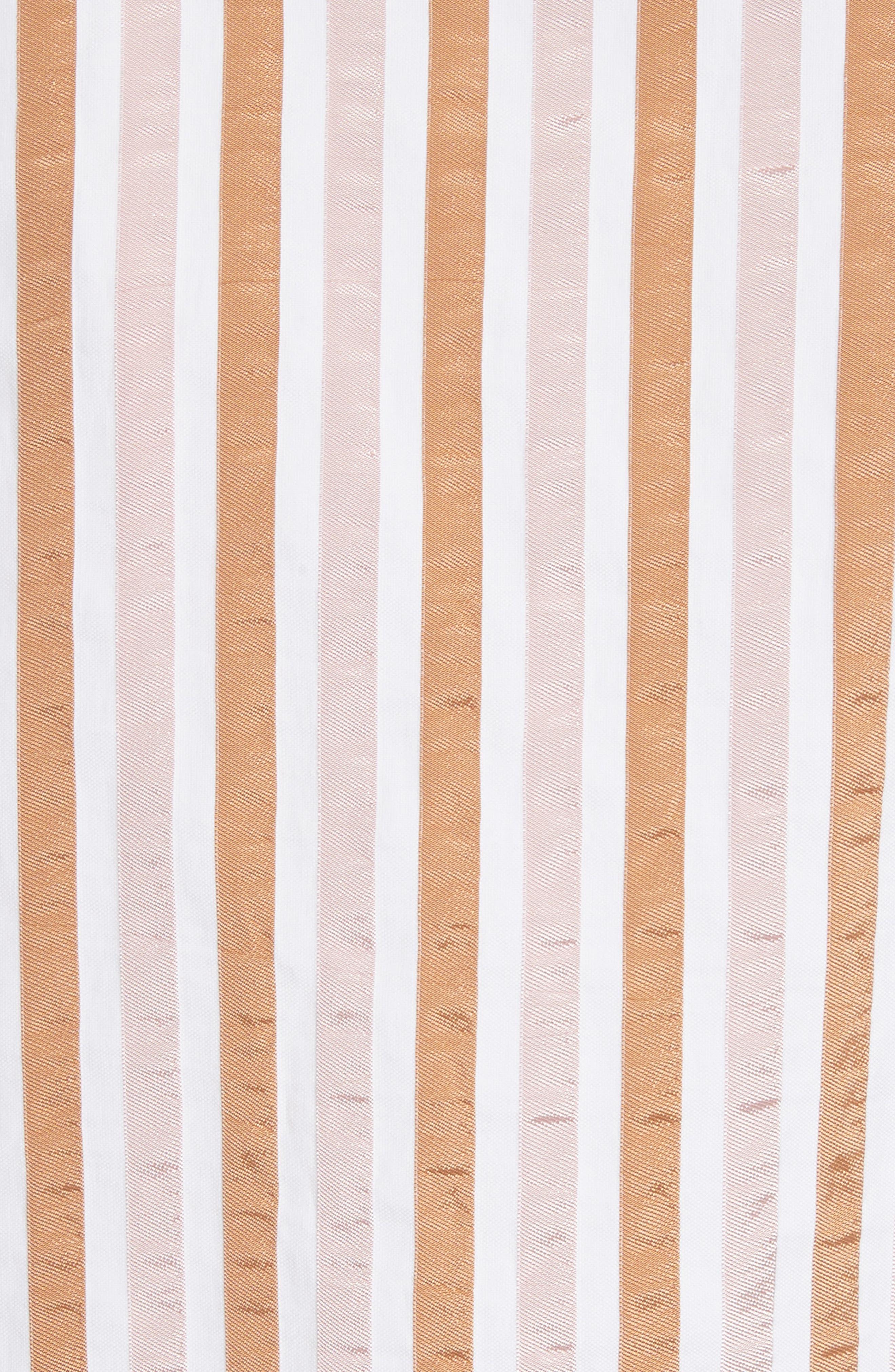 Stripe Mini Crop Shirt,                             Alternate thumbnail 6, color,                             Copper Multi