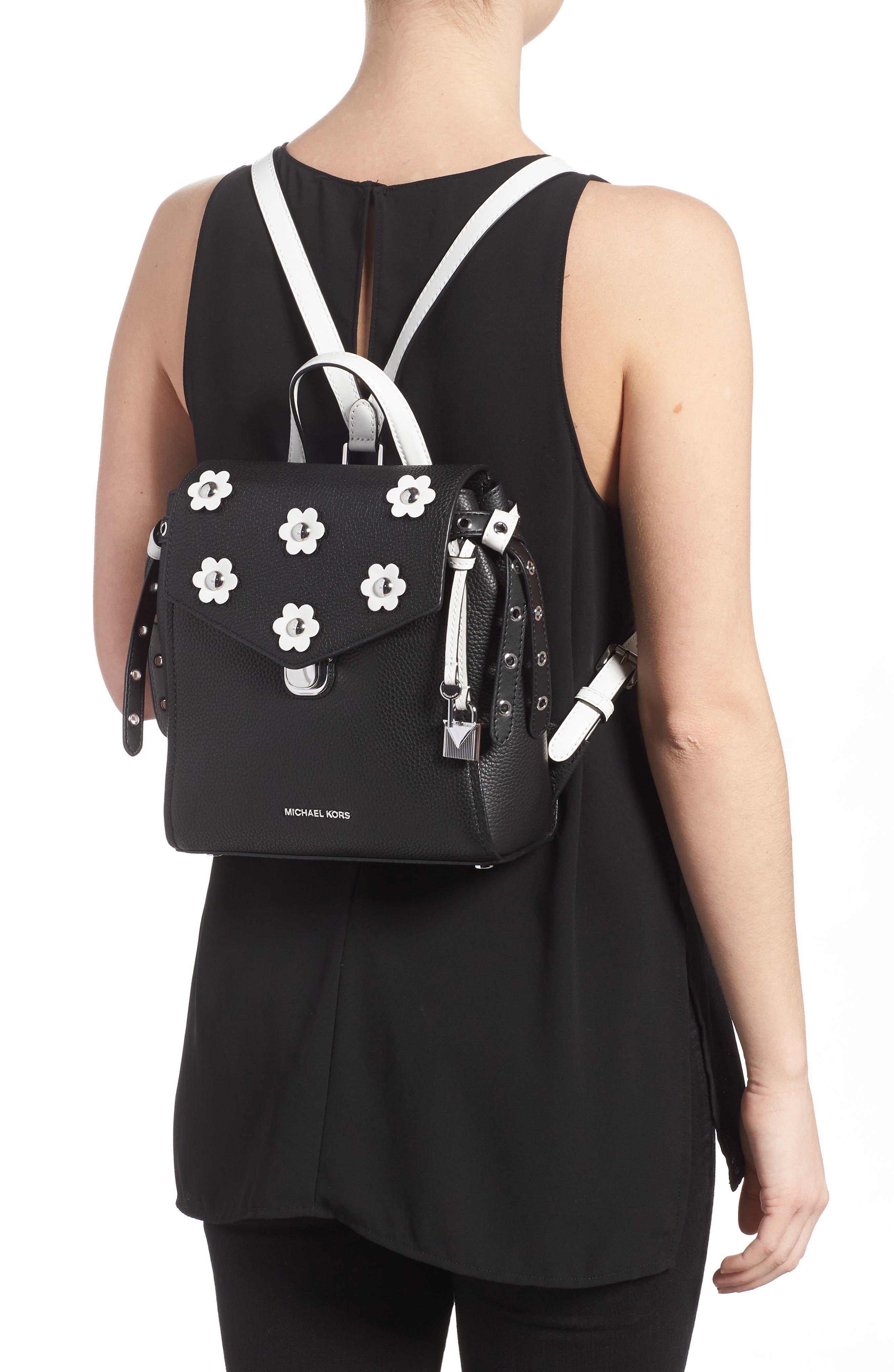 MICHAEL Michael Kors Small Flower Embellished Leather Backpack,                             Alternate thumbnail 2, color,                             Black/ Optic White