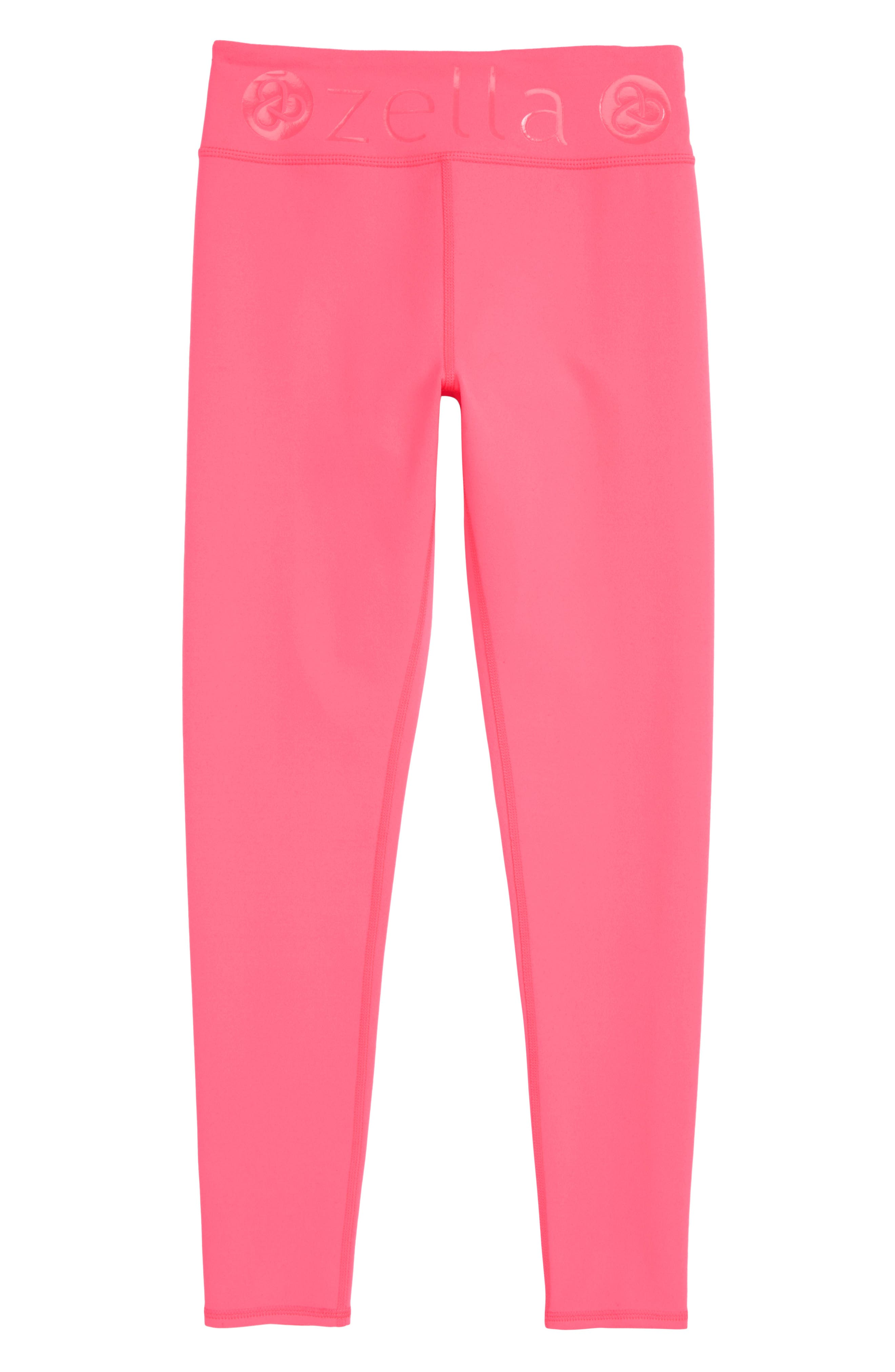 High Waist Leggings,                         Main,                         color, Pink Neon