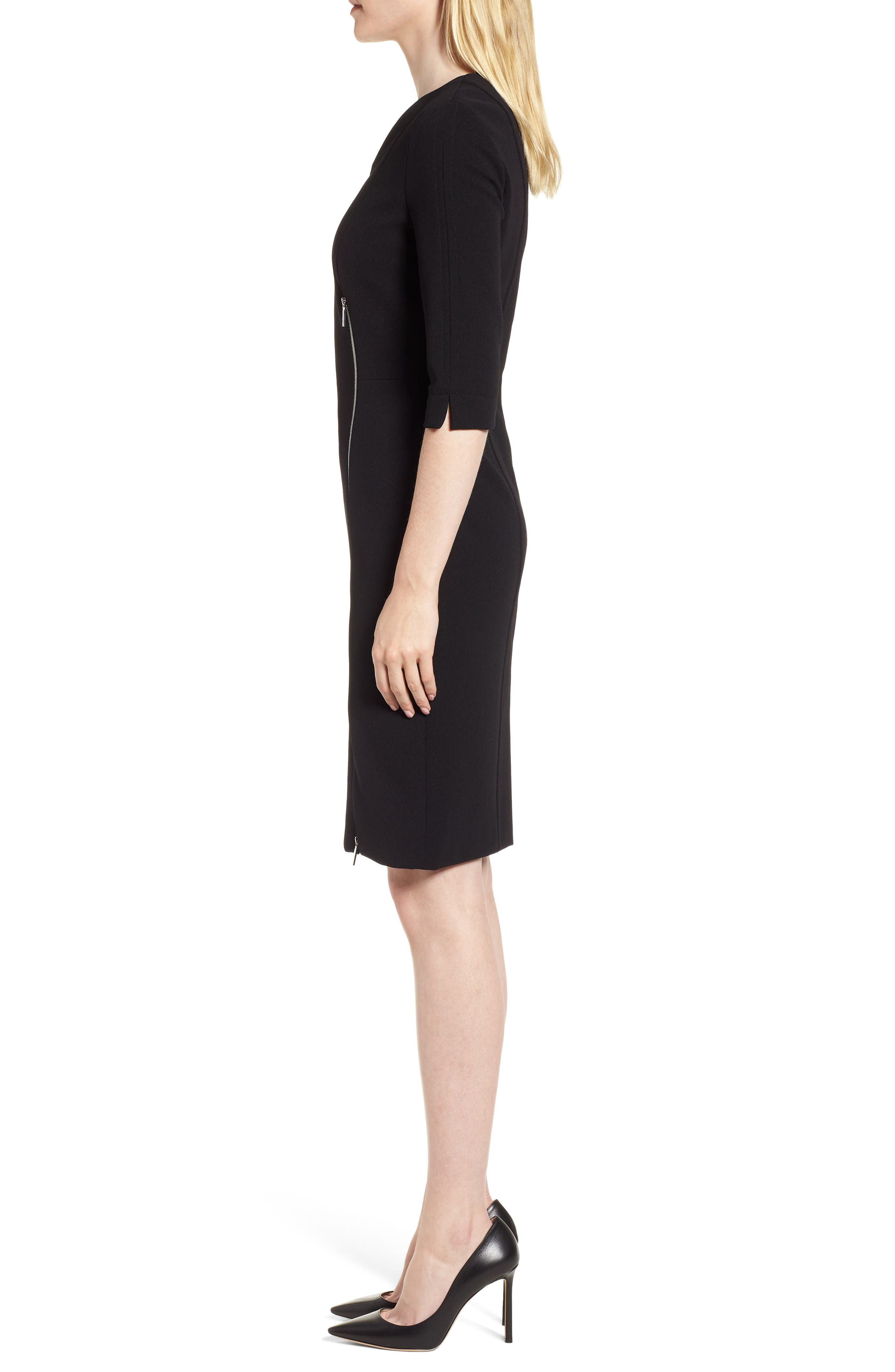 Deazema Twill Jersey Dress,                             Alternate thumbnail 3, color,                             Black
