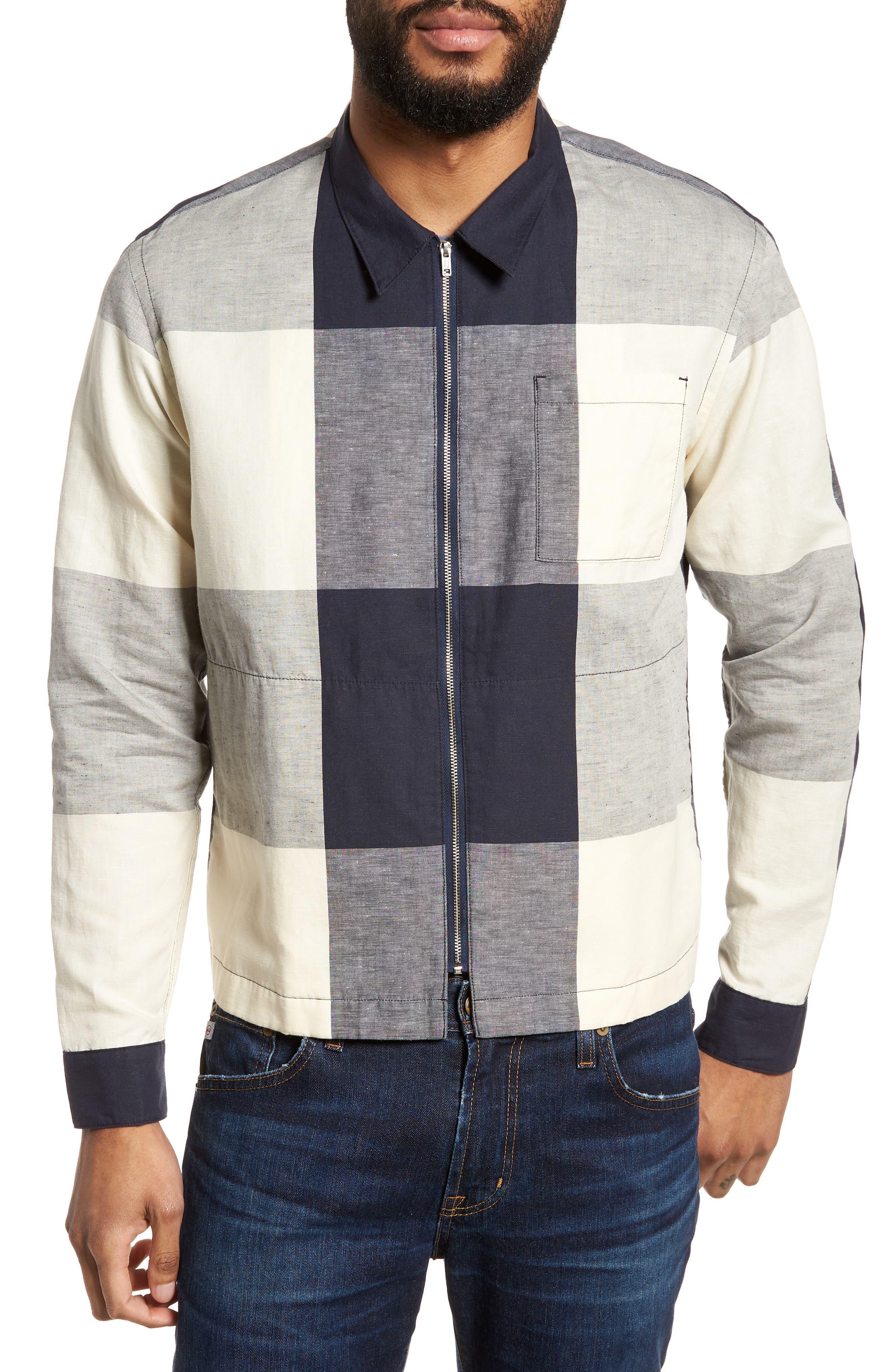 Doc Savage Regular Fit Check Sport Shirt,                             Main thumbnail 1, color,                             Ecru/ Navy