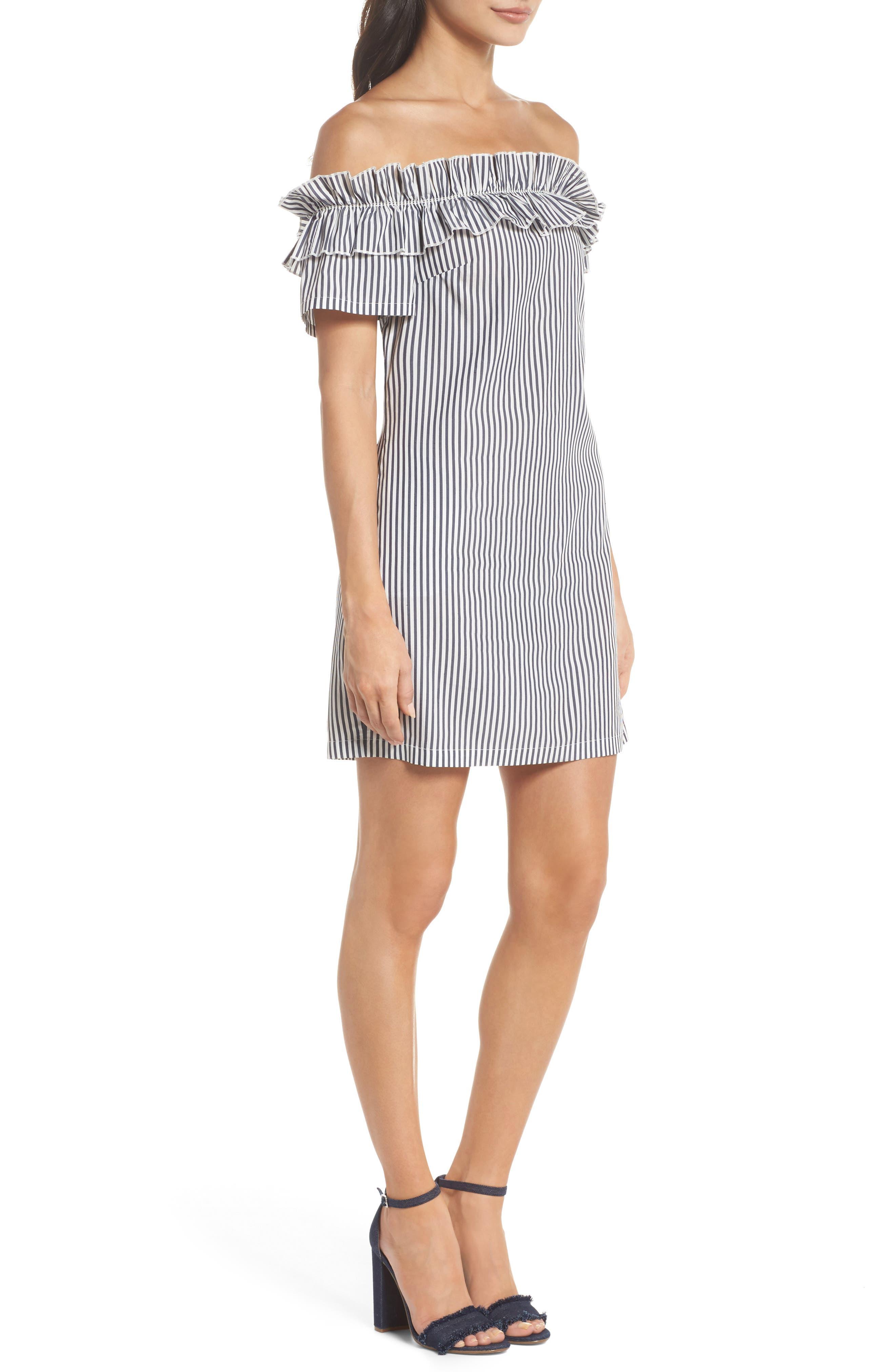 Patio Only Stripe Minidress,                             Alternate thumbnail 3, color,                             Navy/ White Mini Stripe