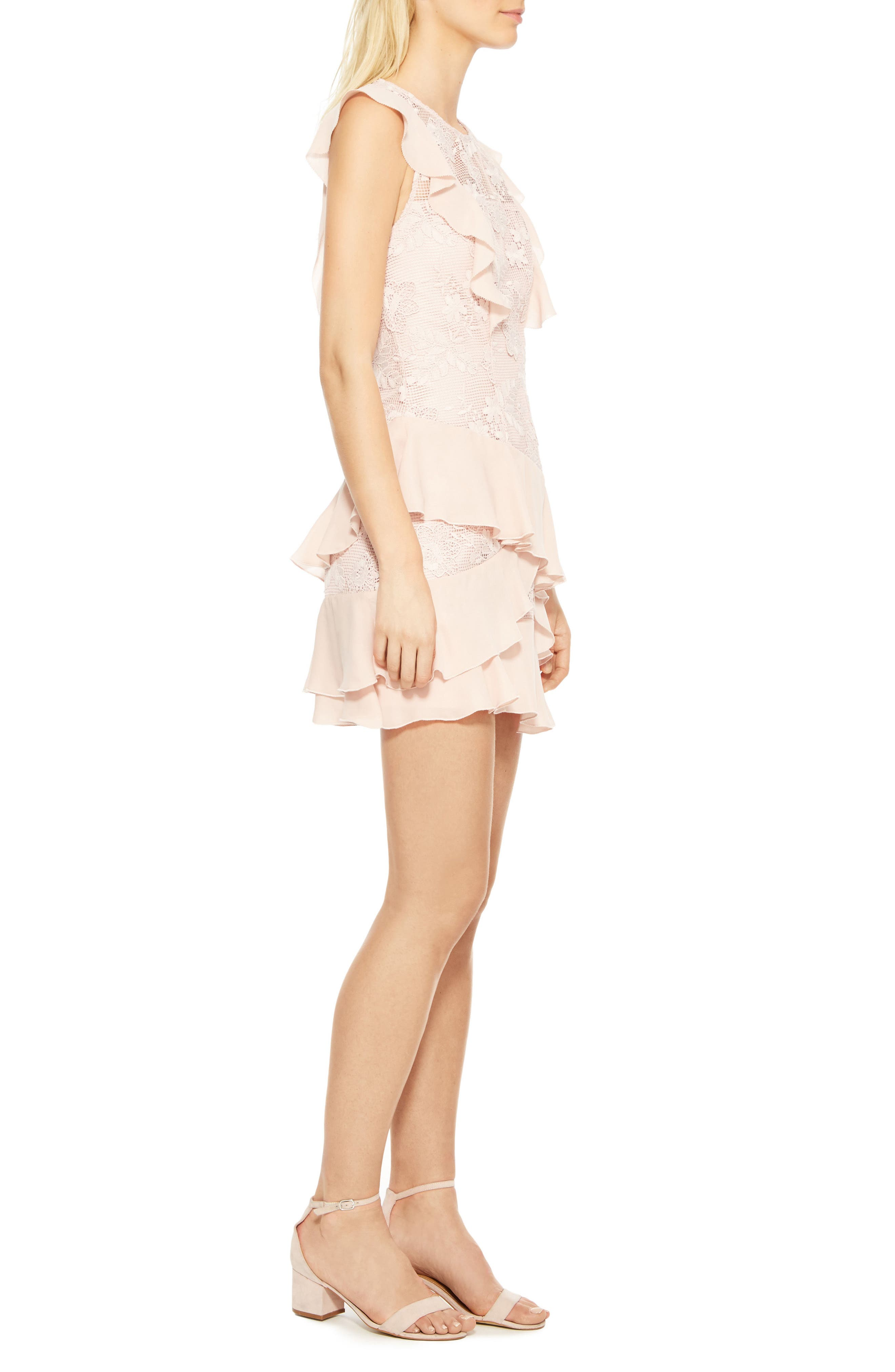 Gabriel Lace Ruffle Dress,                             Alternate thumbnail 4, color,                             Pearl Blush