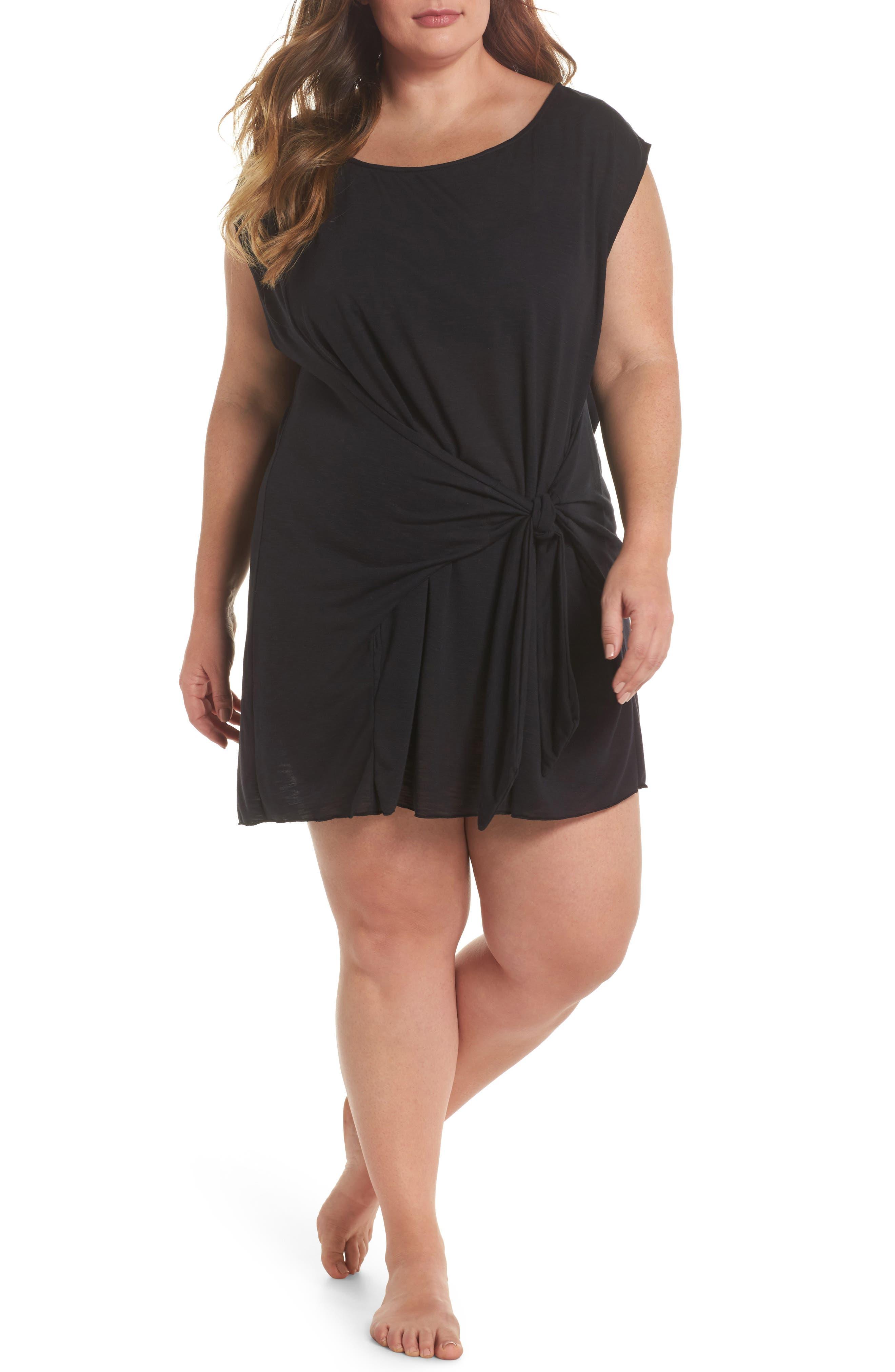 Breezy Basic Cover-Up Dress,                             Main thumbnail 1, color,                             Black