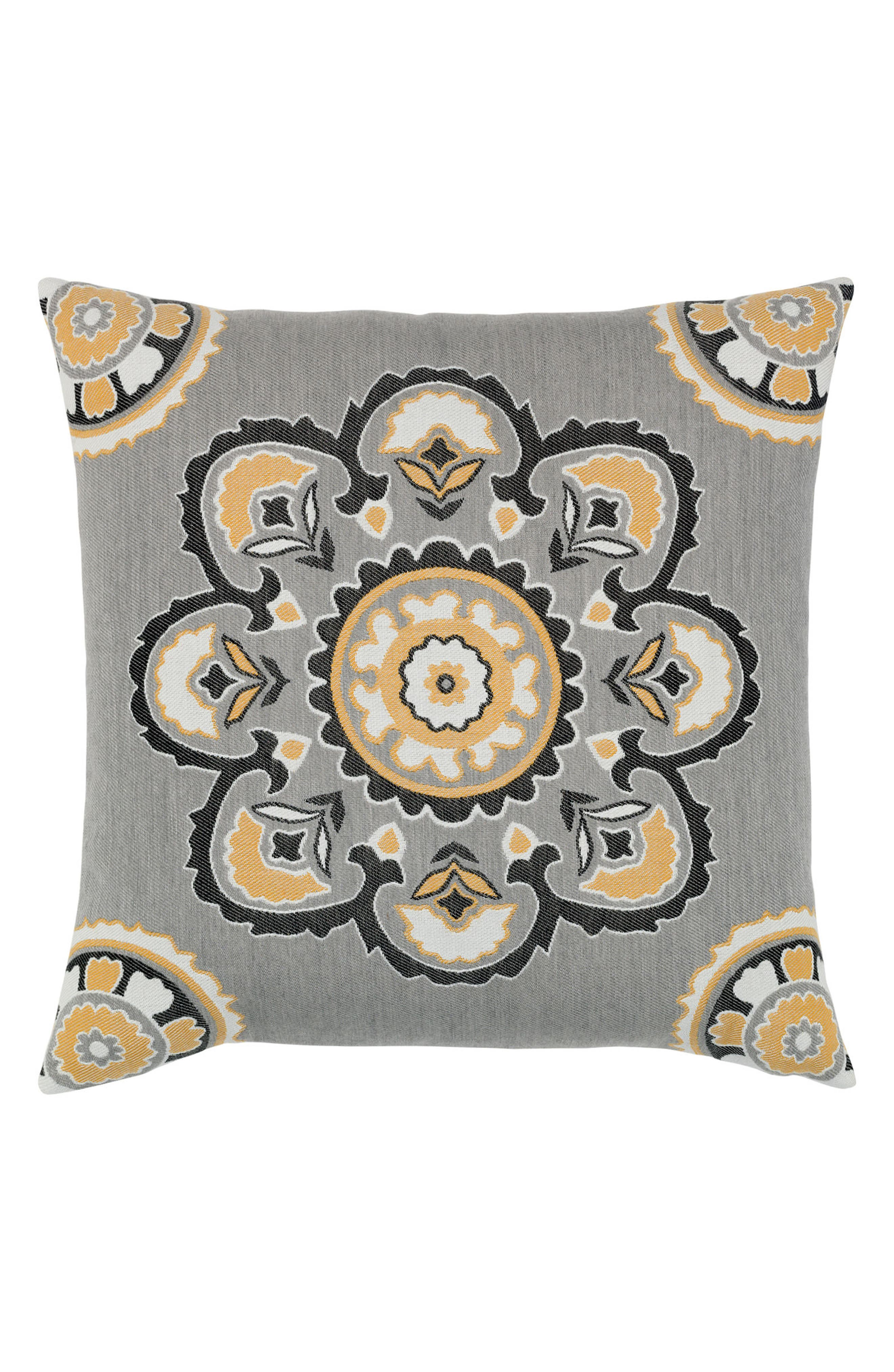 Bukhara Eclipse Indoor/Outdoor Accent Pillow,                             Main thumbnail 1, color,                             Grey