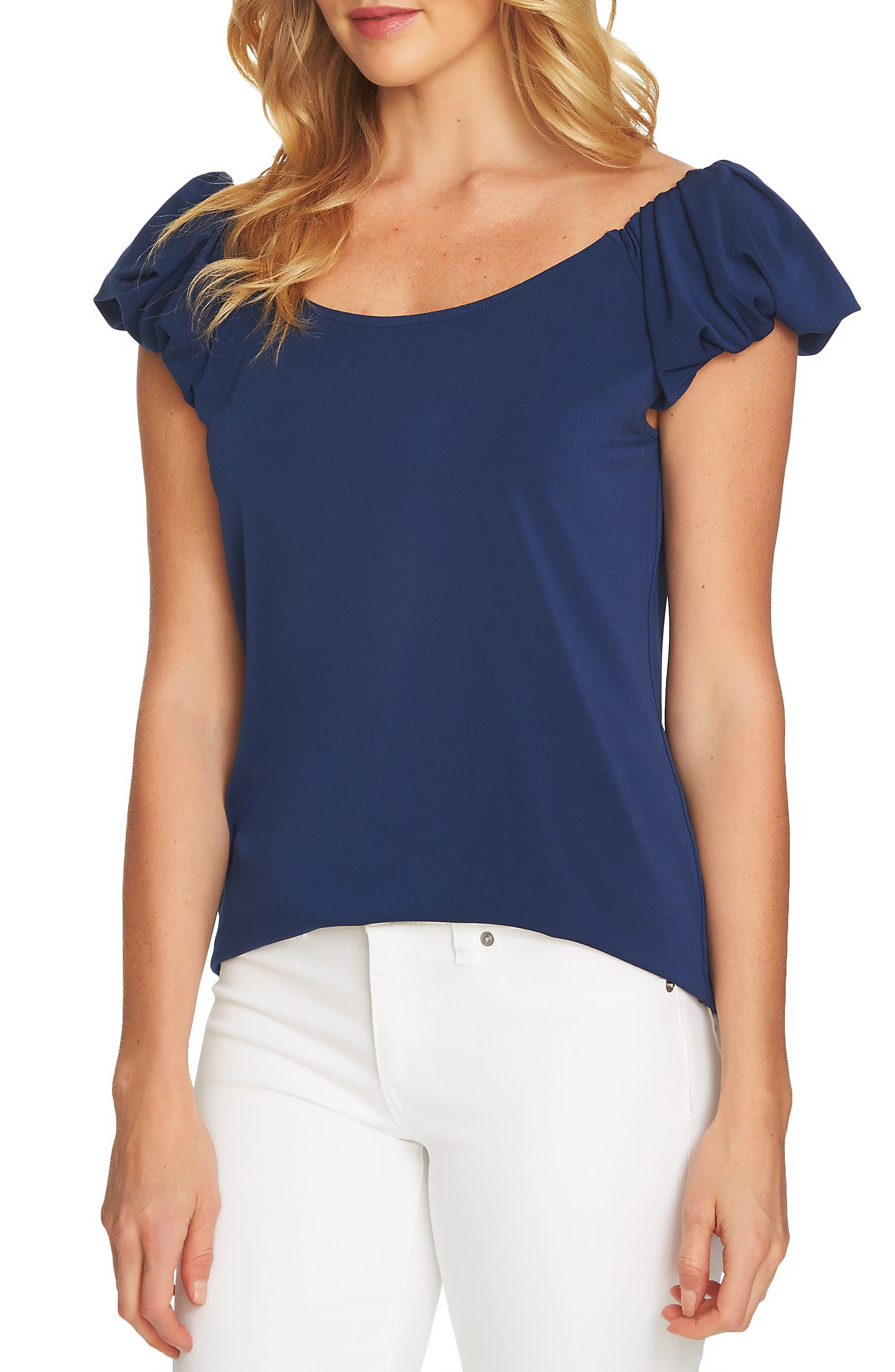 Puffed Short Sleeve Top,                         Main,                         color, Naval Navy