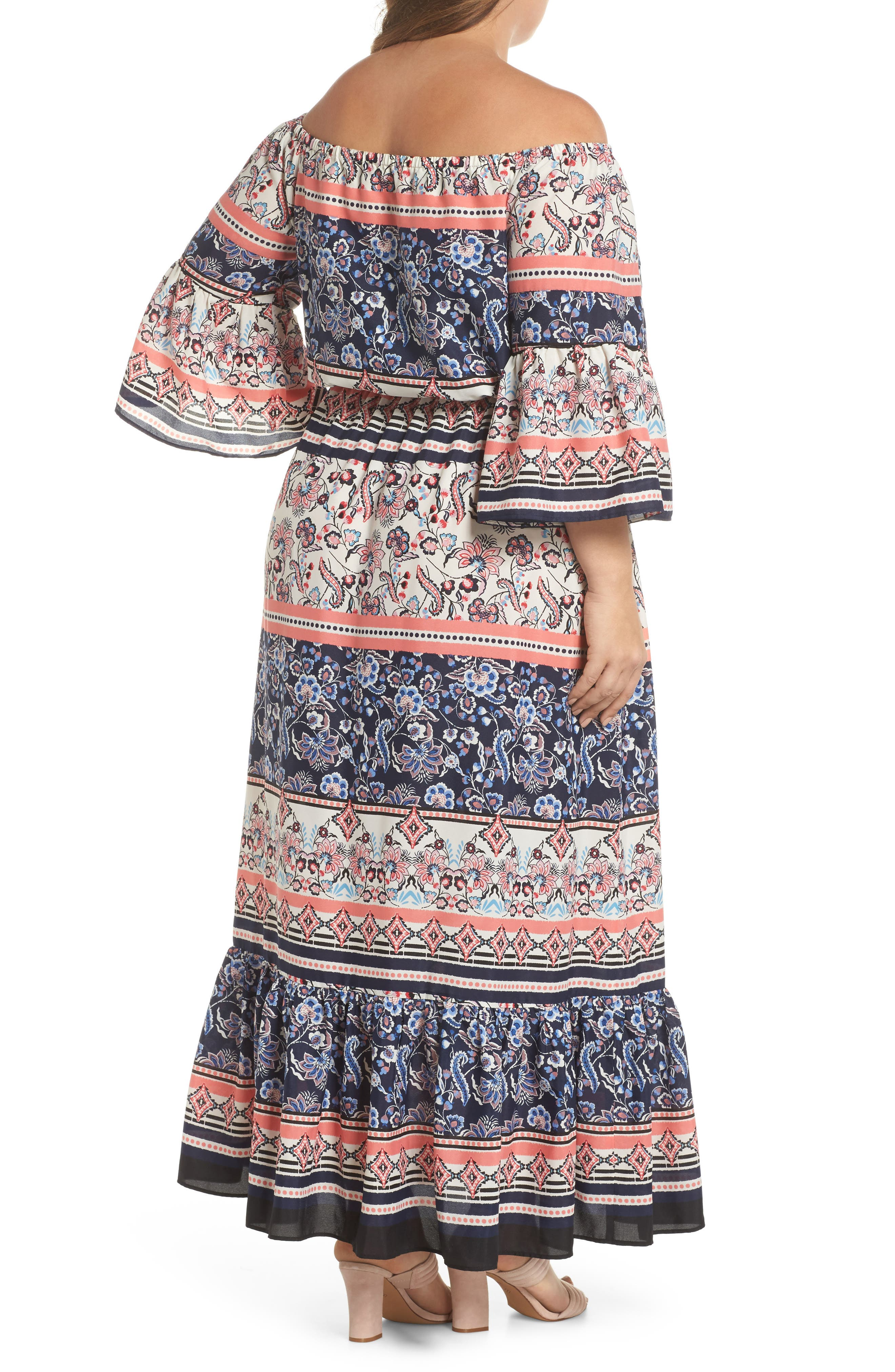 Print Off the Shoulder Maxi Dress,                             Alternate thumbnail 2, color,                             Navy/ Pink/ Ivory
