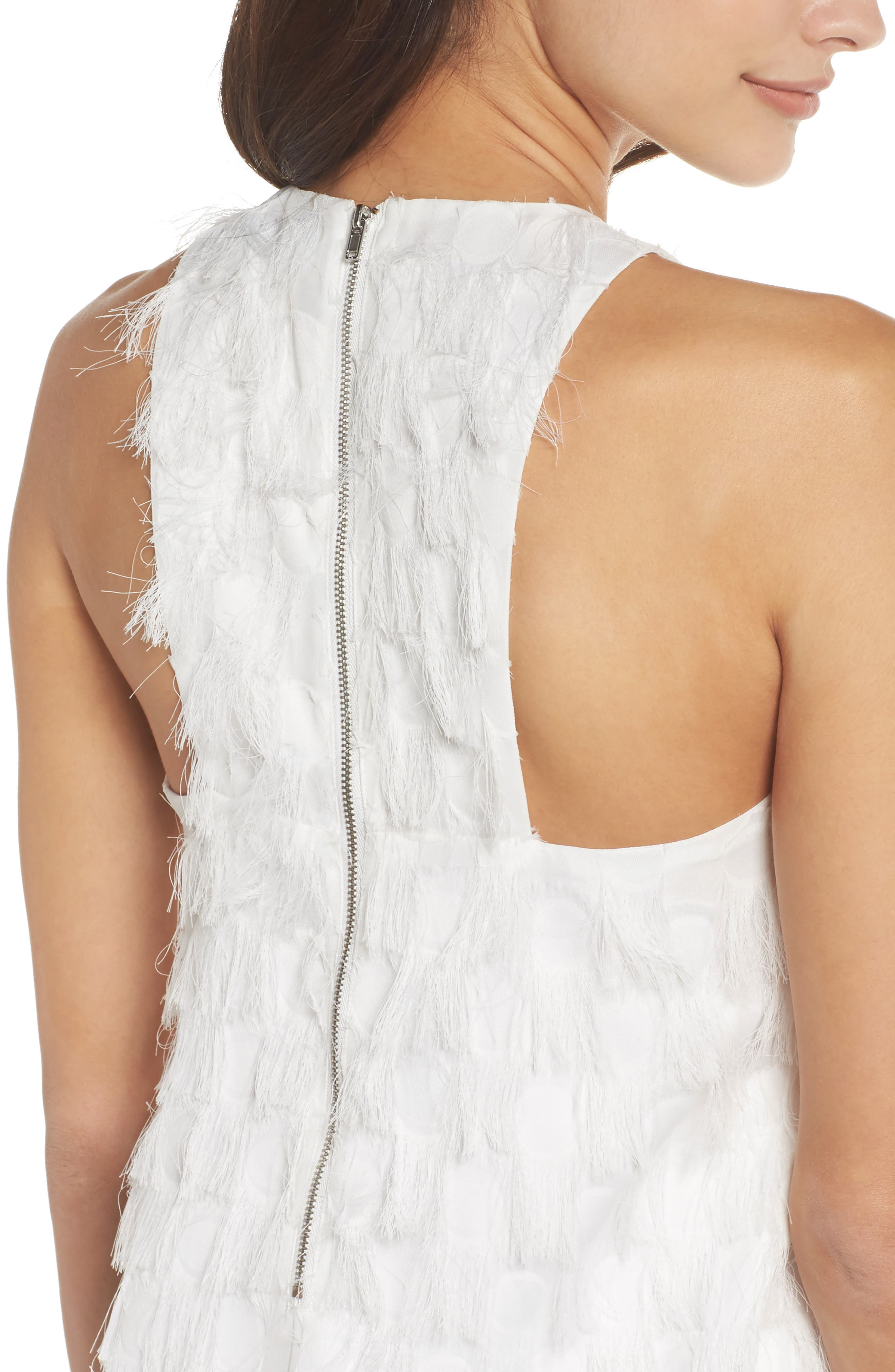 Shake Your Tail Feathers Minidress,                             Alternate thumbnail 5, color,                             White Fringe