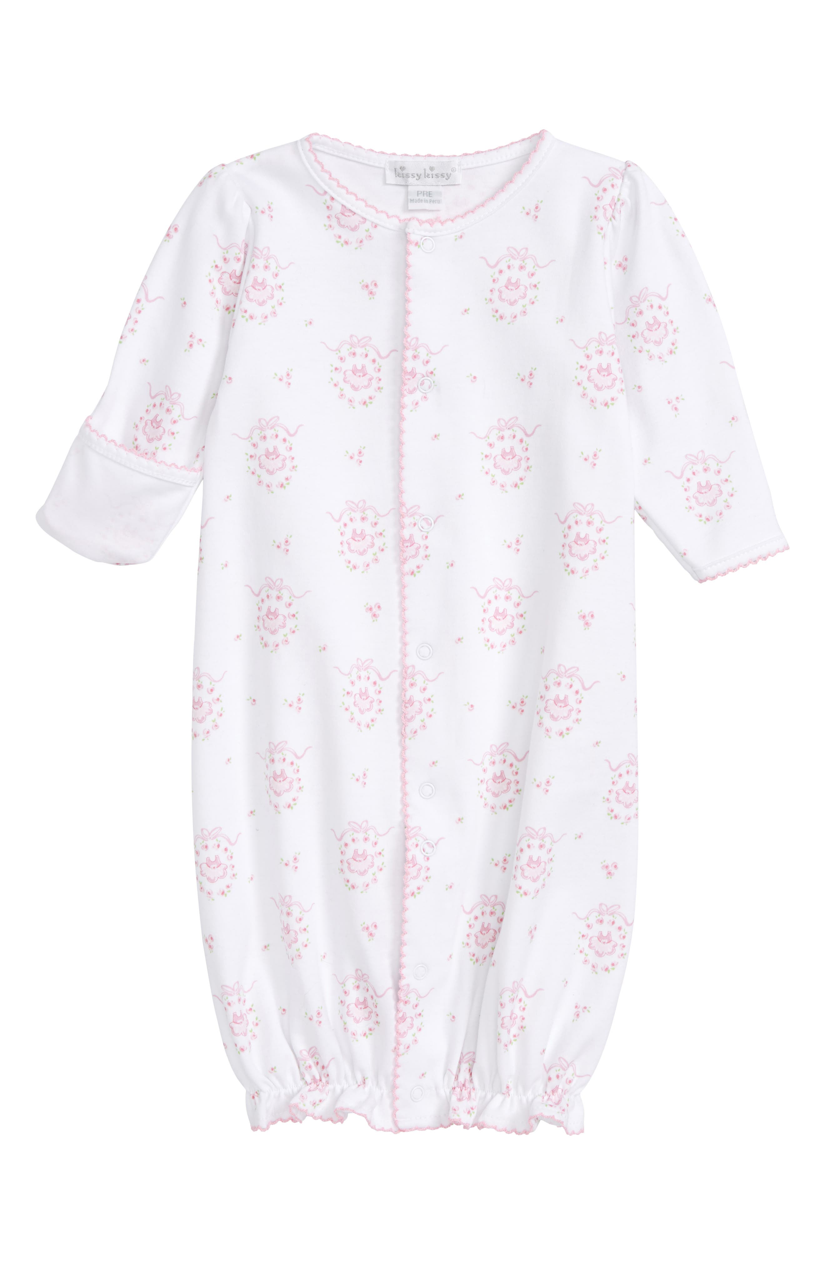 Convertible Pima Cotton Gown,                         Main,                         color, Pink
