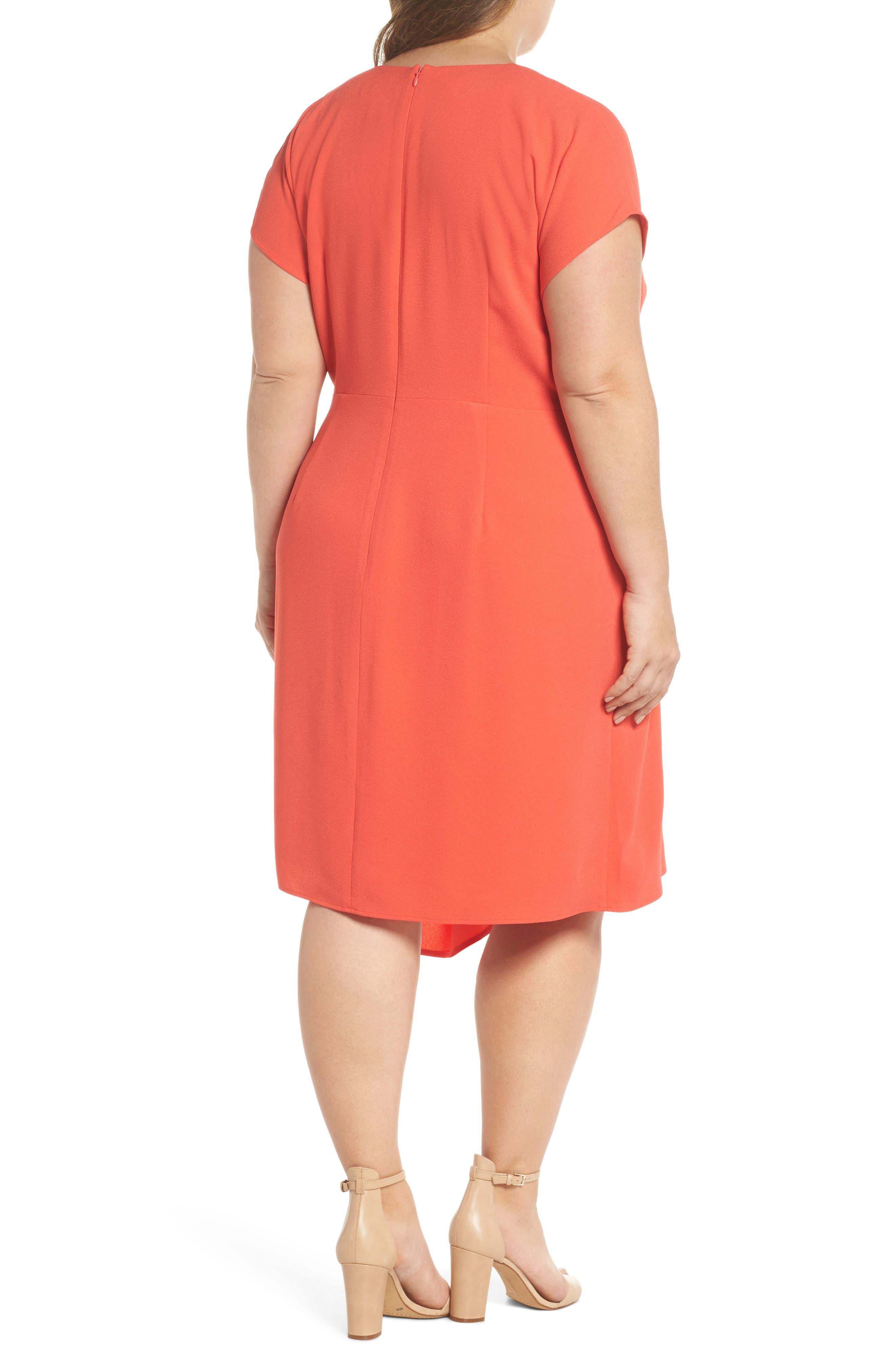 Crepe Surplice Dress,                             Alternate thumbnail 2, color,                             Coral