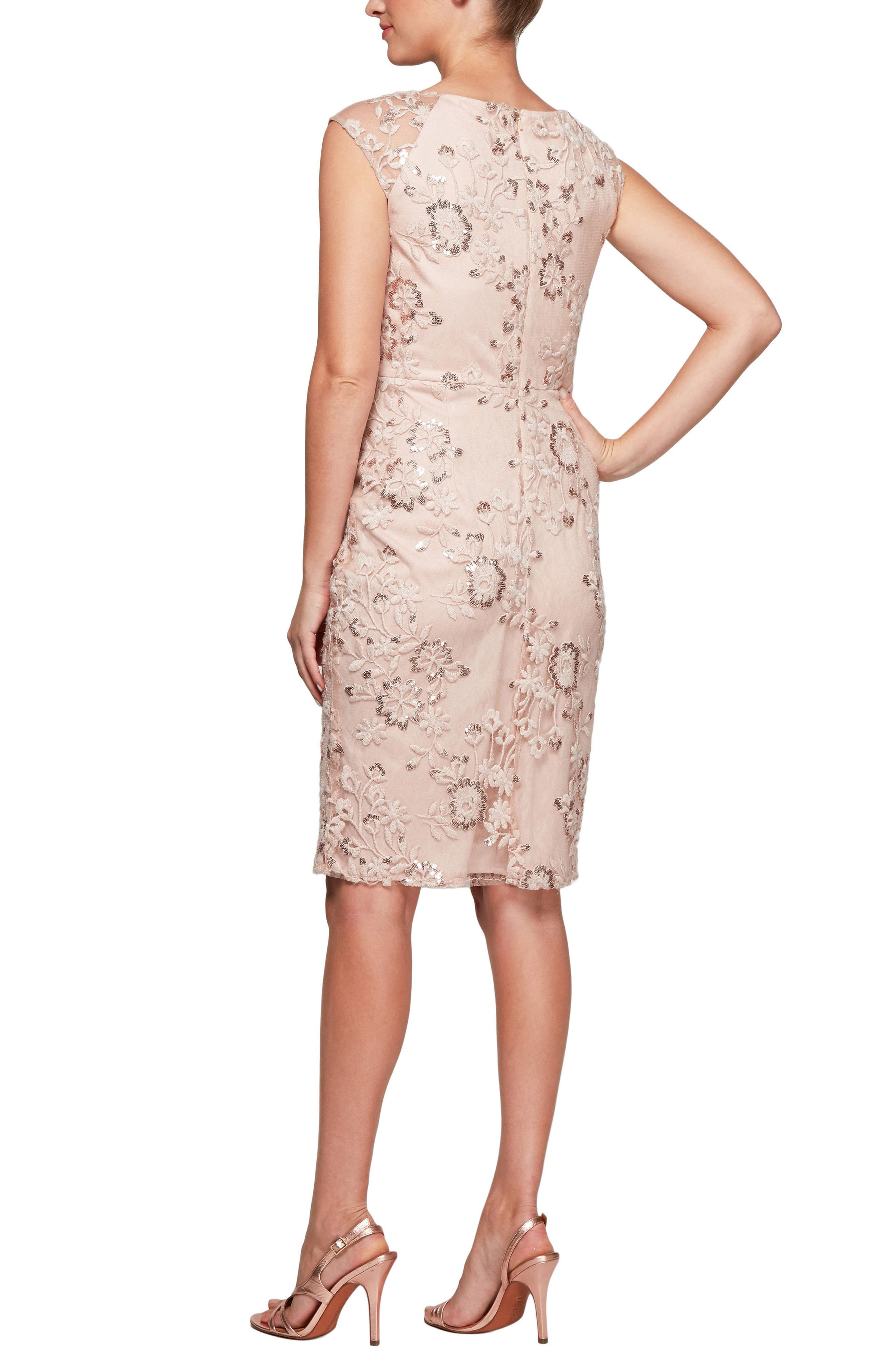 Embroidered Sheath Dress,                             Alternate thumbnail 2, color,                             Pale Blush