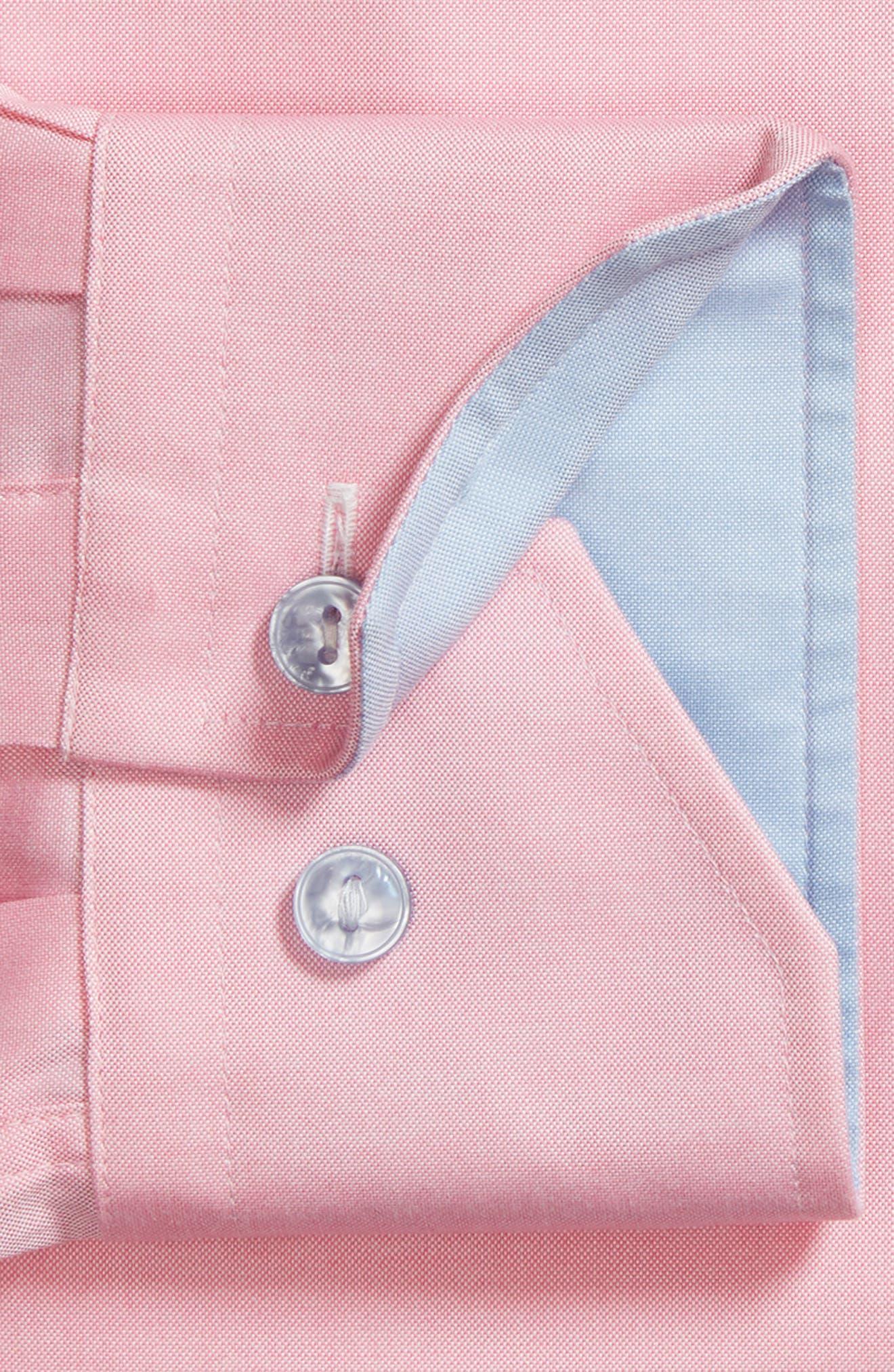 Trim Fit Oxford Dress Shirt,                             Alternate thumbnail 5, color,                             Pink