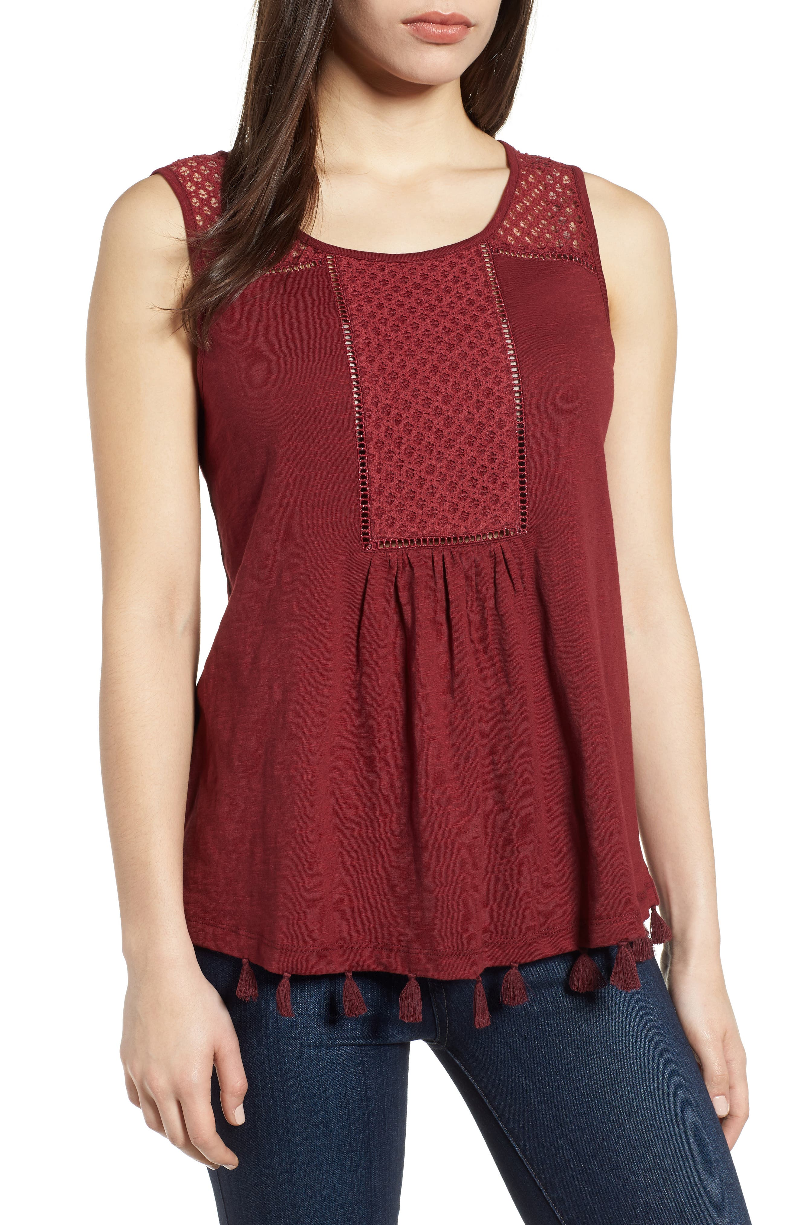 Caslon® Tassel Trim Embroidered Tank (Regular & Petite)