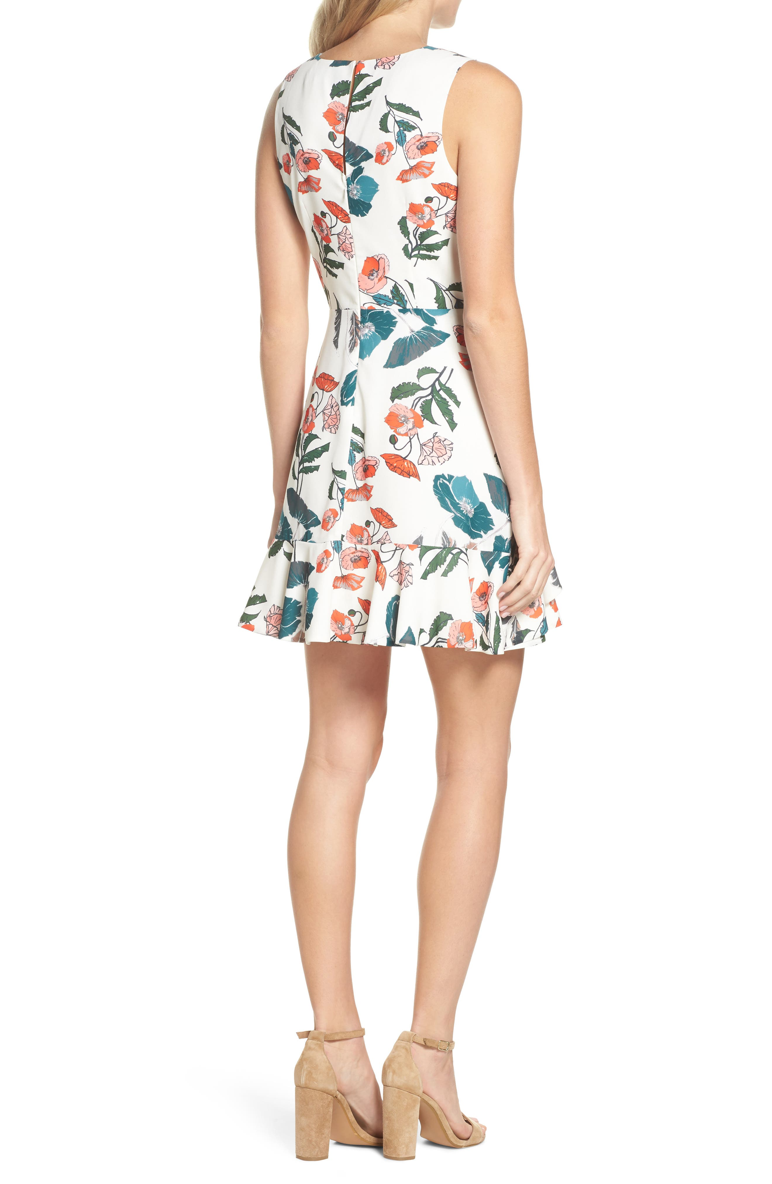 Eden Fit & Flare Dress,                             Alternate thumbnail 2, color,                             White/ Melon