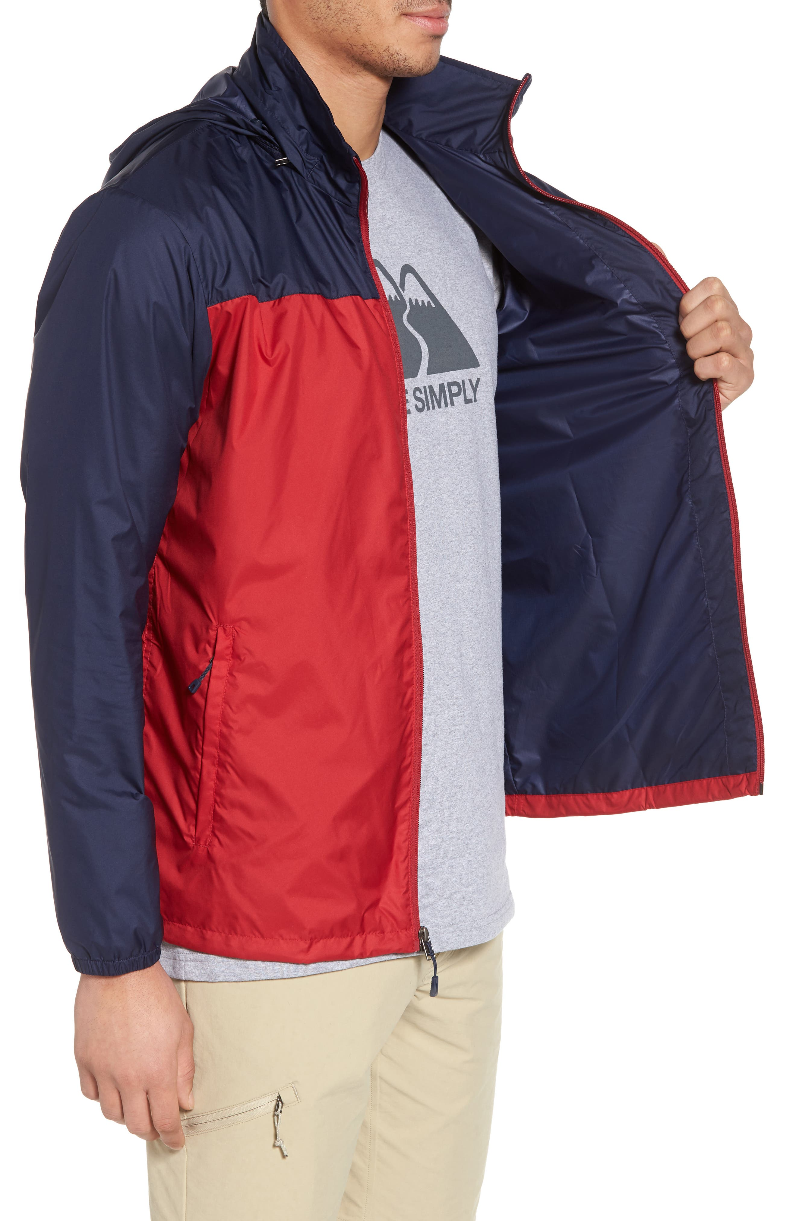 Light & Variable<sup>™</sup> Wind & Water Resistant Hooded Jacket,                             Alternate thumbnail 3, color,                             Classic Red