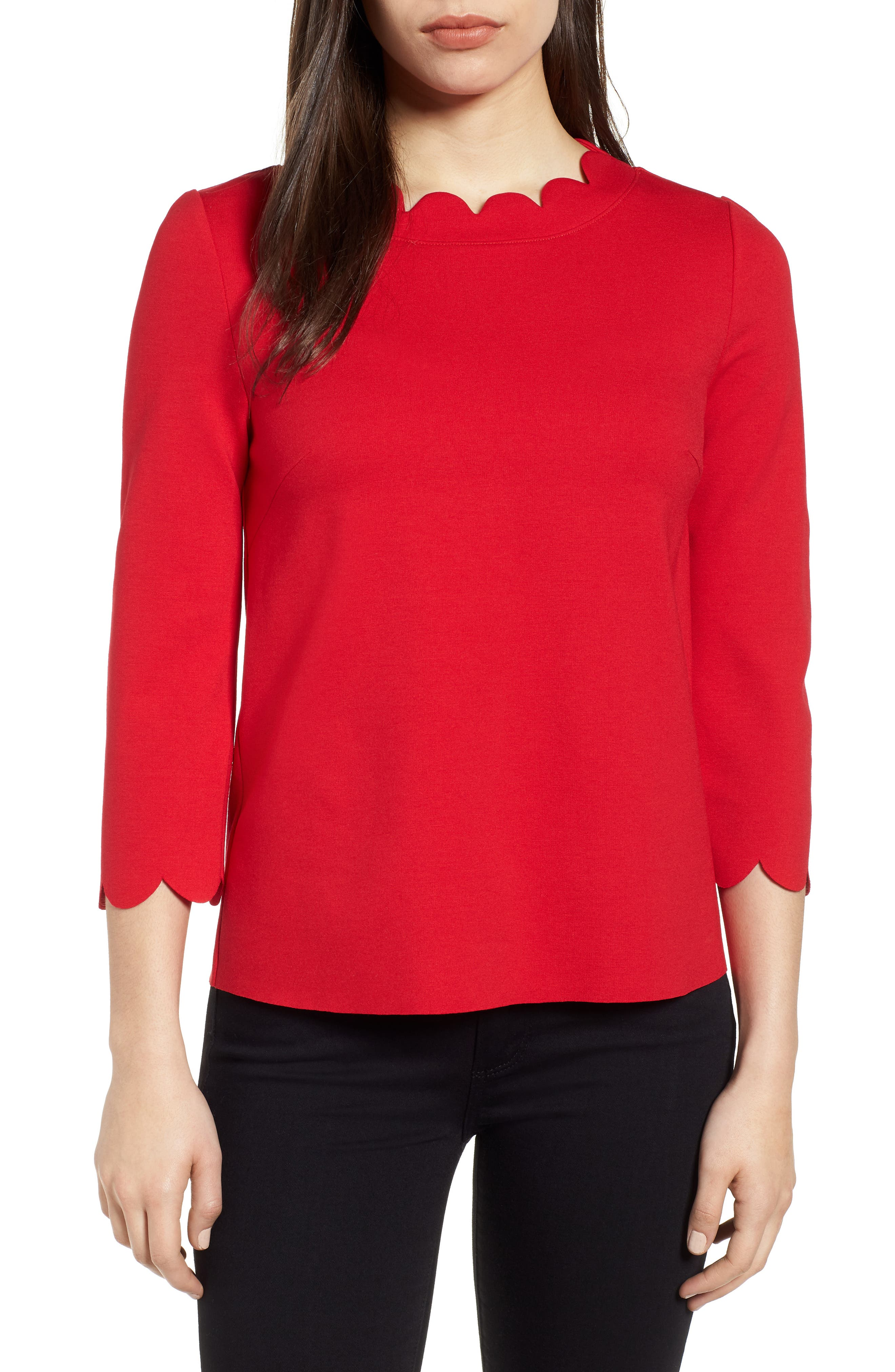Ponte Scallop Top,                             Main thumbnail 1, color,                             Red