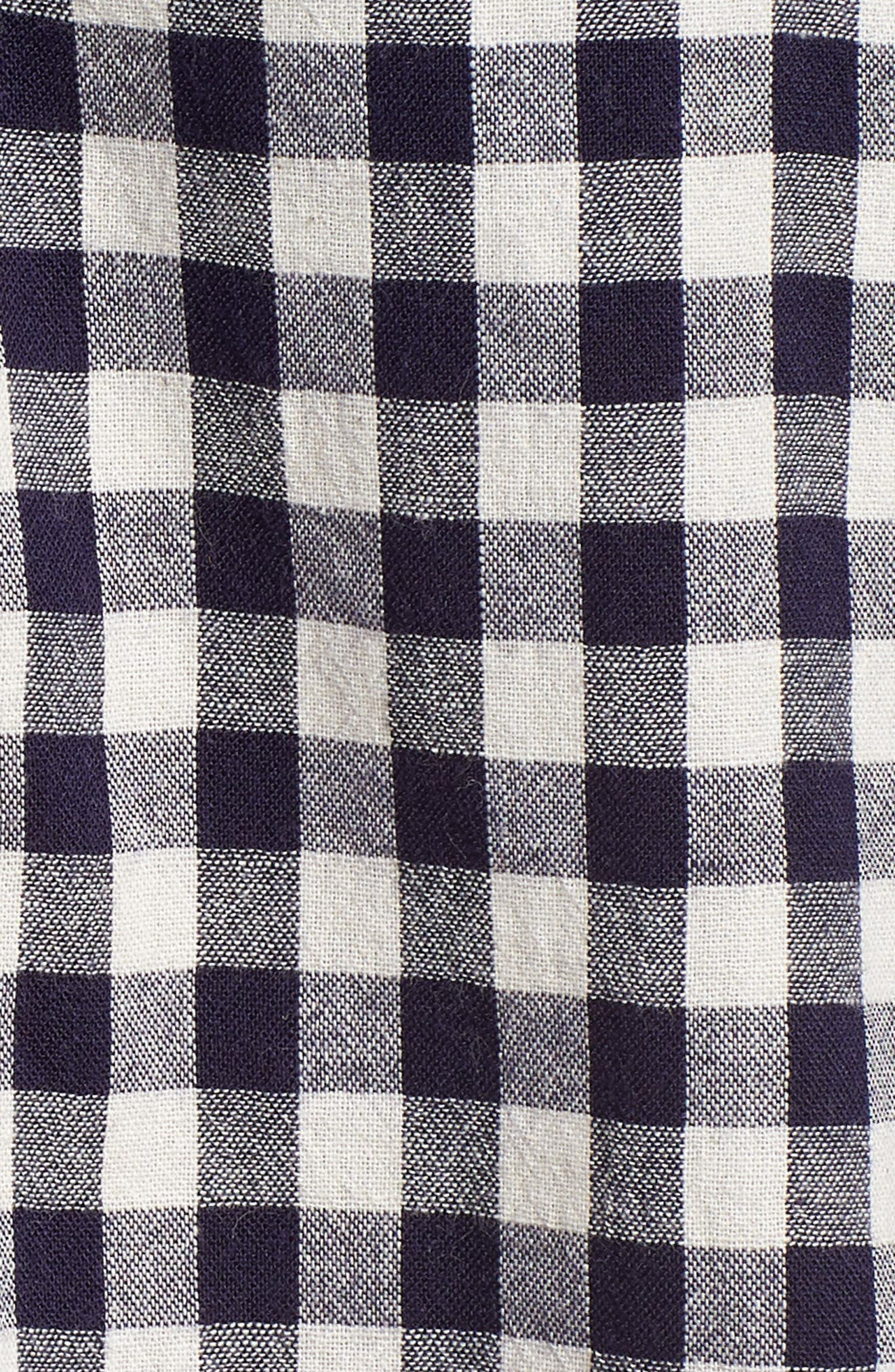 Gingham Check Peasant Top,                             Alternate thumbnail 6, color,                             Navy White Gingham