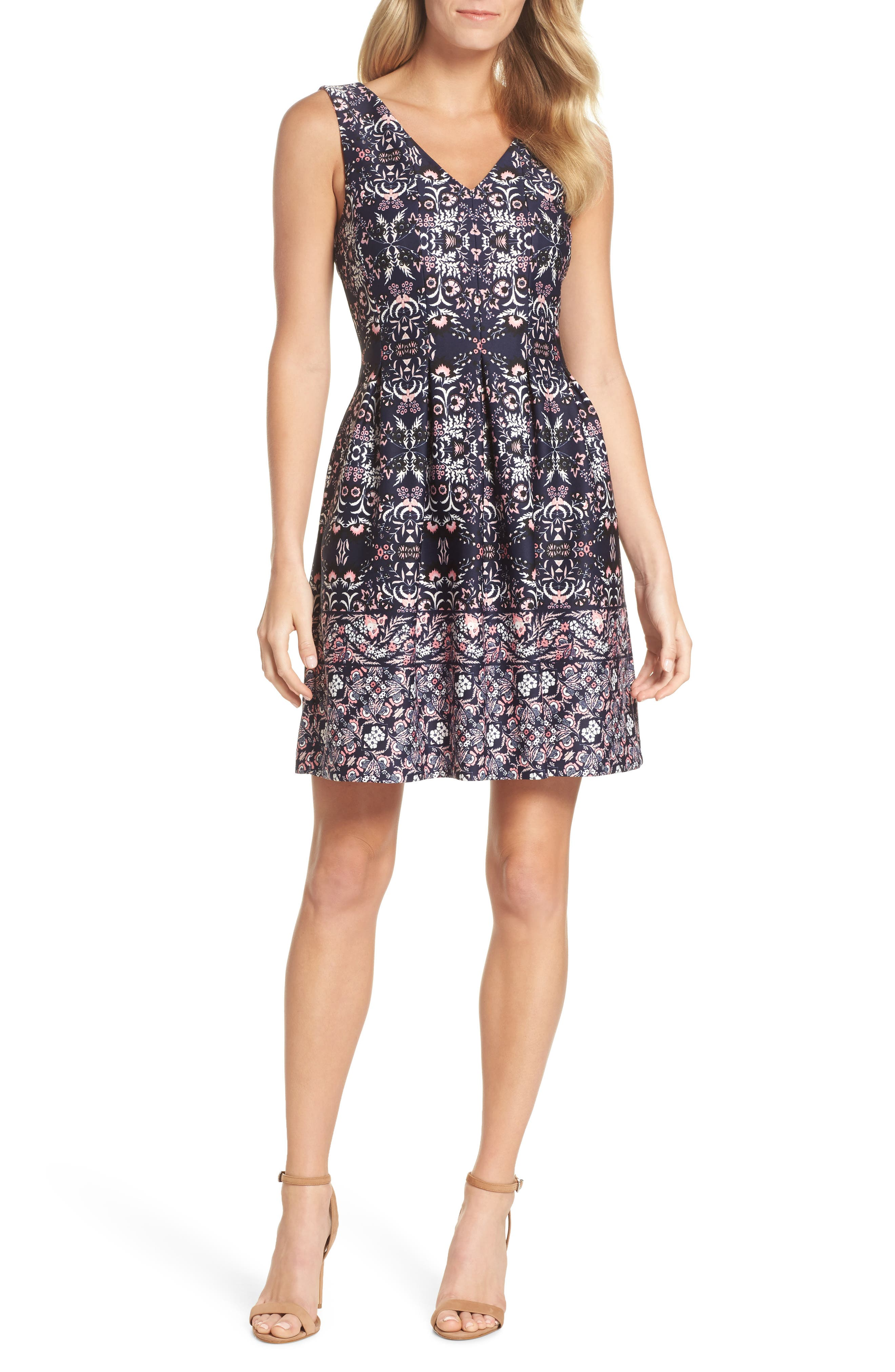 Vince Camuto Print Scuba Fit & Flare Dress (Regular & Petite)