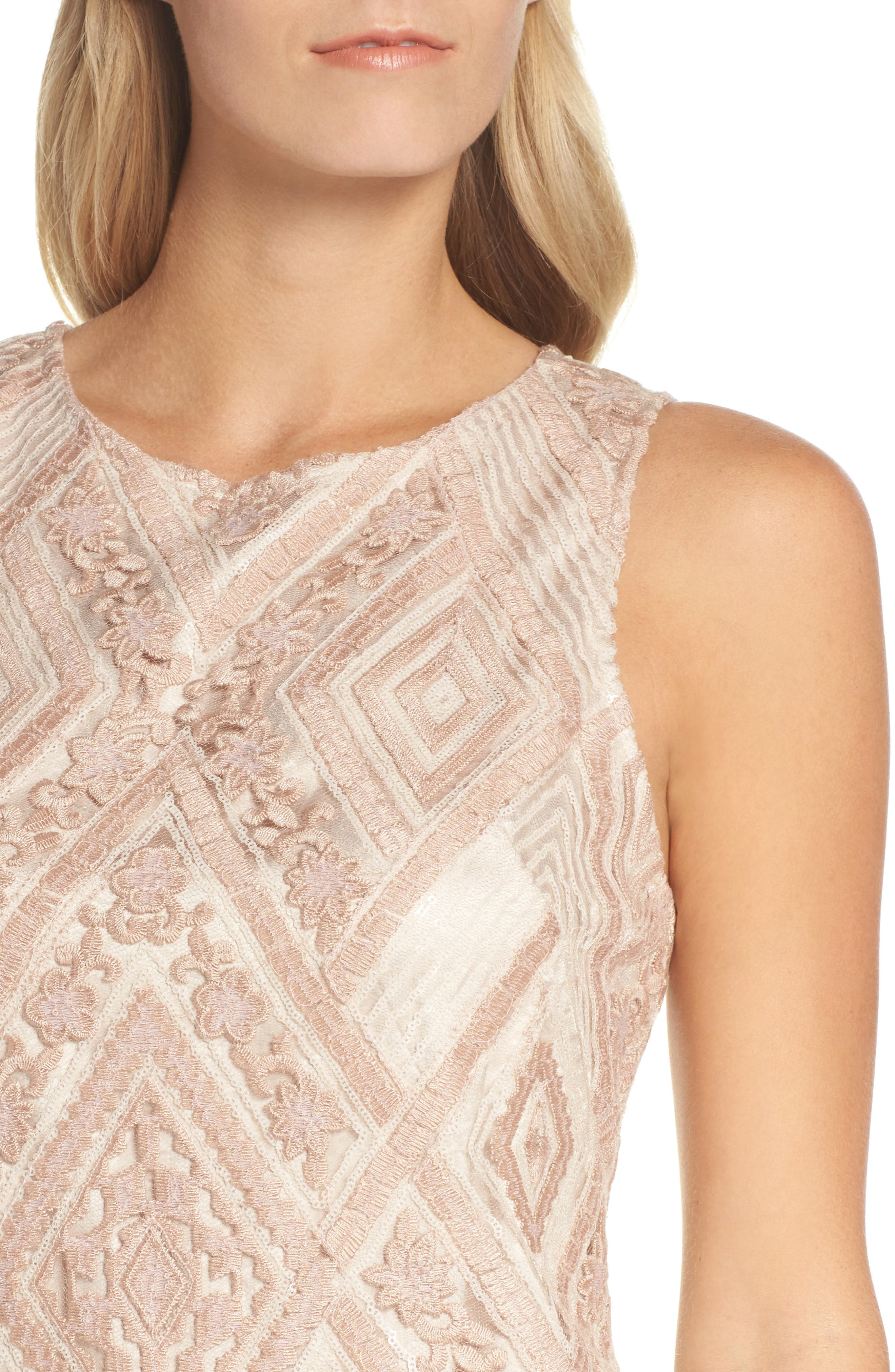 Sequin Embroidered Sheath Dress,                             Alternate thumbnail 4, color,                             Blush