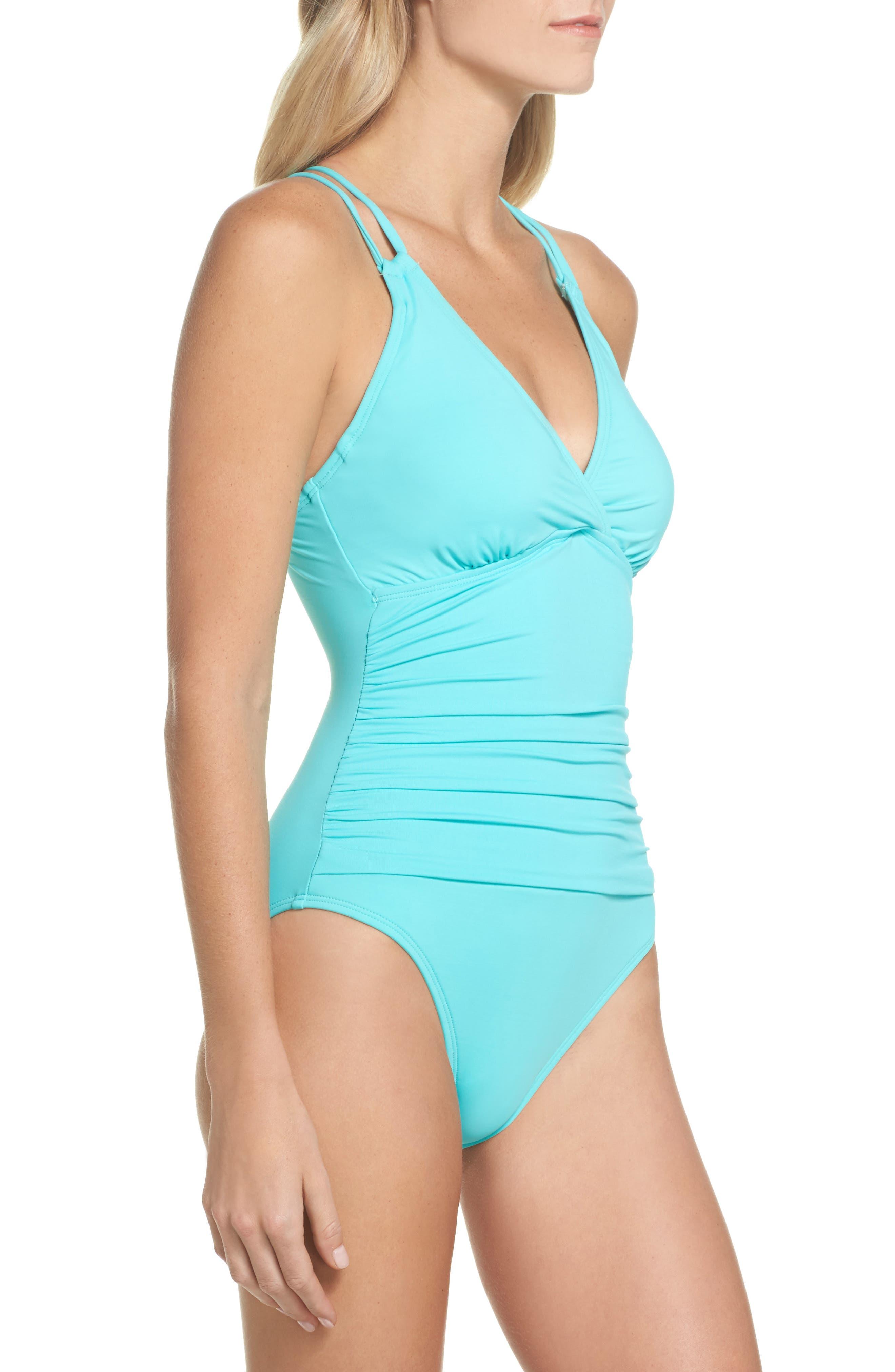 Island One-Piece Swimsuit,                             Alternate thumbnail 3, color,                             Seafoam